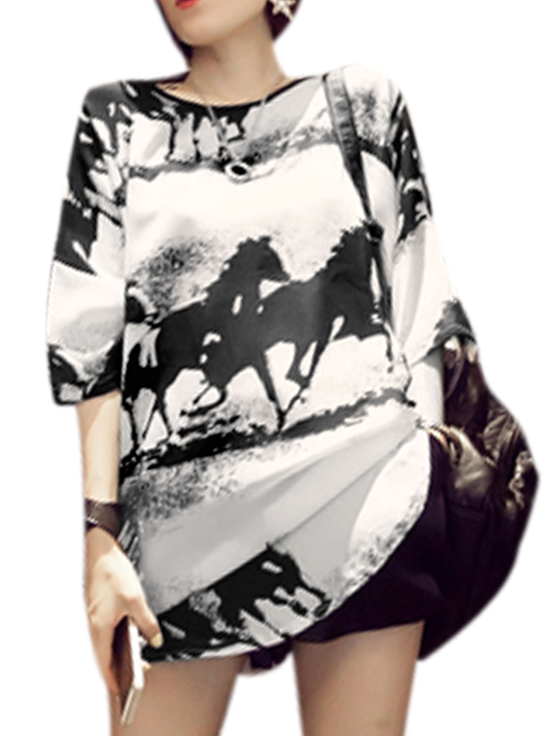 Ladies Black Off White Round Neck 3/4 Sleeves Pullover Chiffon Loose Shirt S
