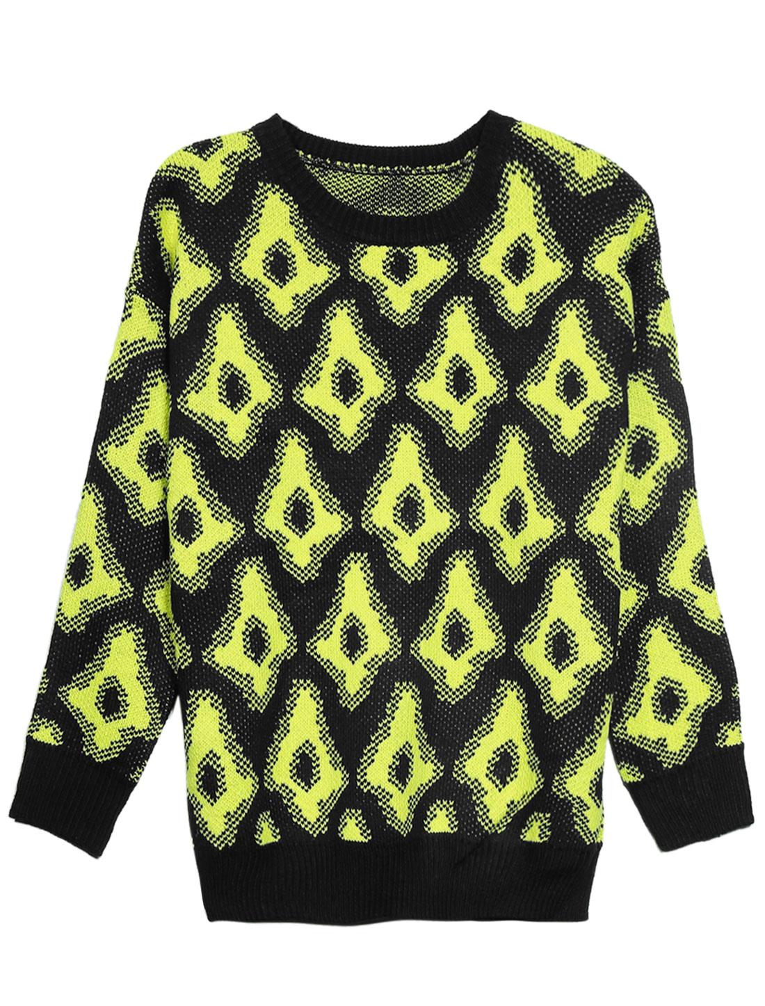 Women Argyle Pattern Slipover Long Sleeve Sweater Yellow Black M