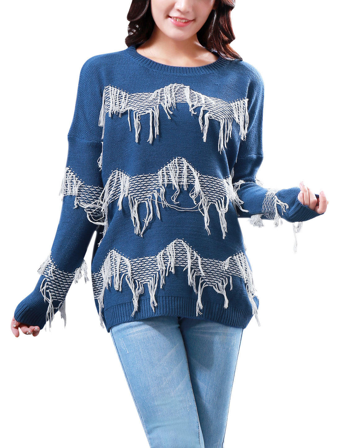 Lady Pullover Tassel Trim Design Fashion Sweater Sky Blue White S