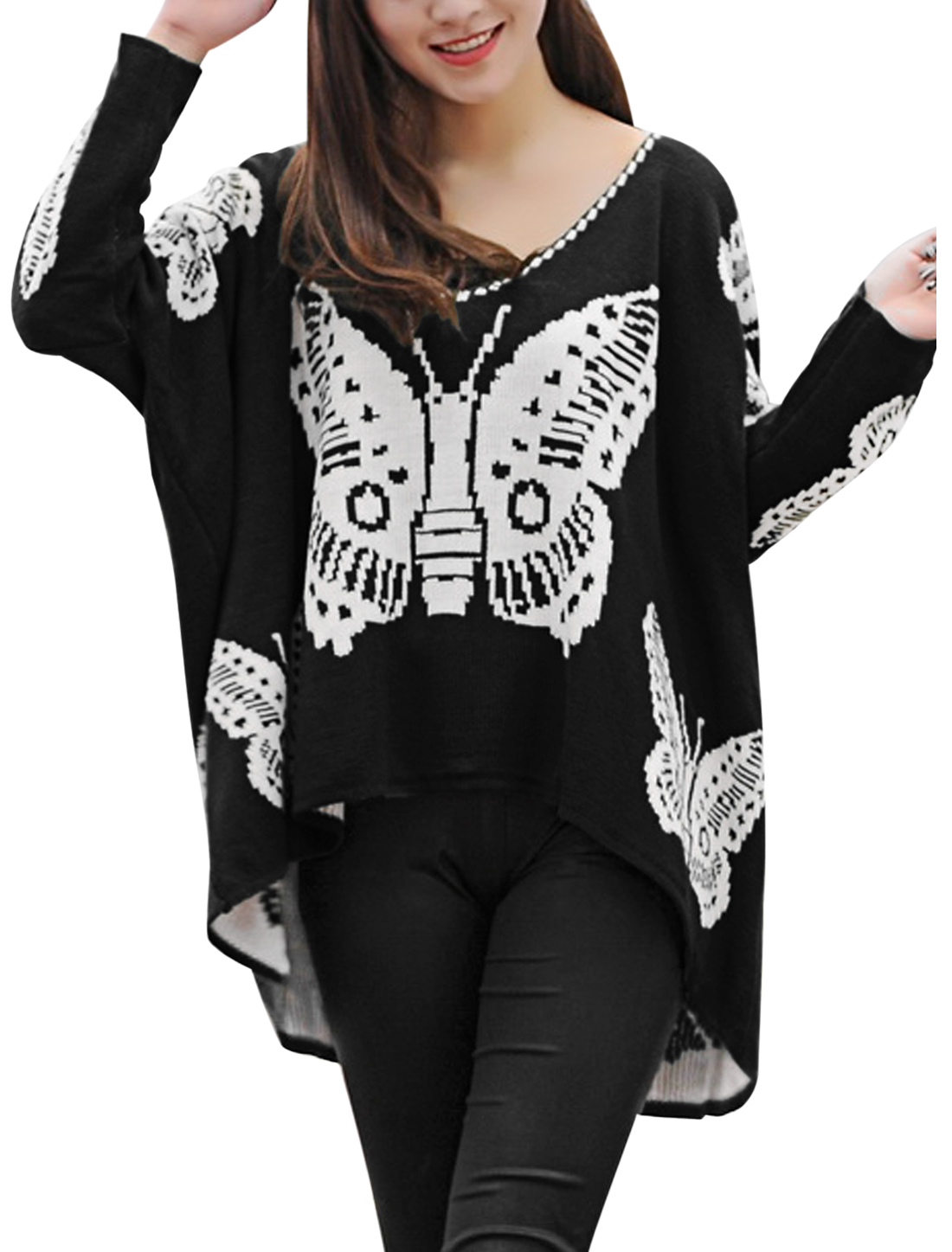 Lady Batwing Sleeve Butterfly Pattern Loose Fit Sweater Black White M