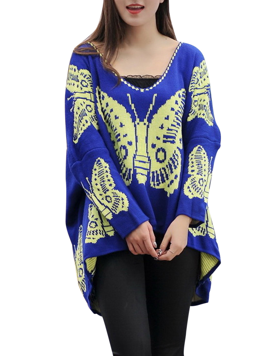 Lady Pullover V Neck Fashionable Sweater Royal Blue Yellow M