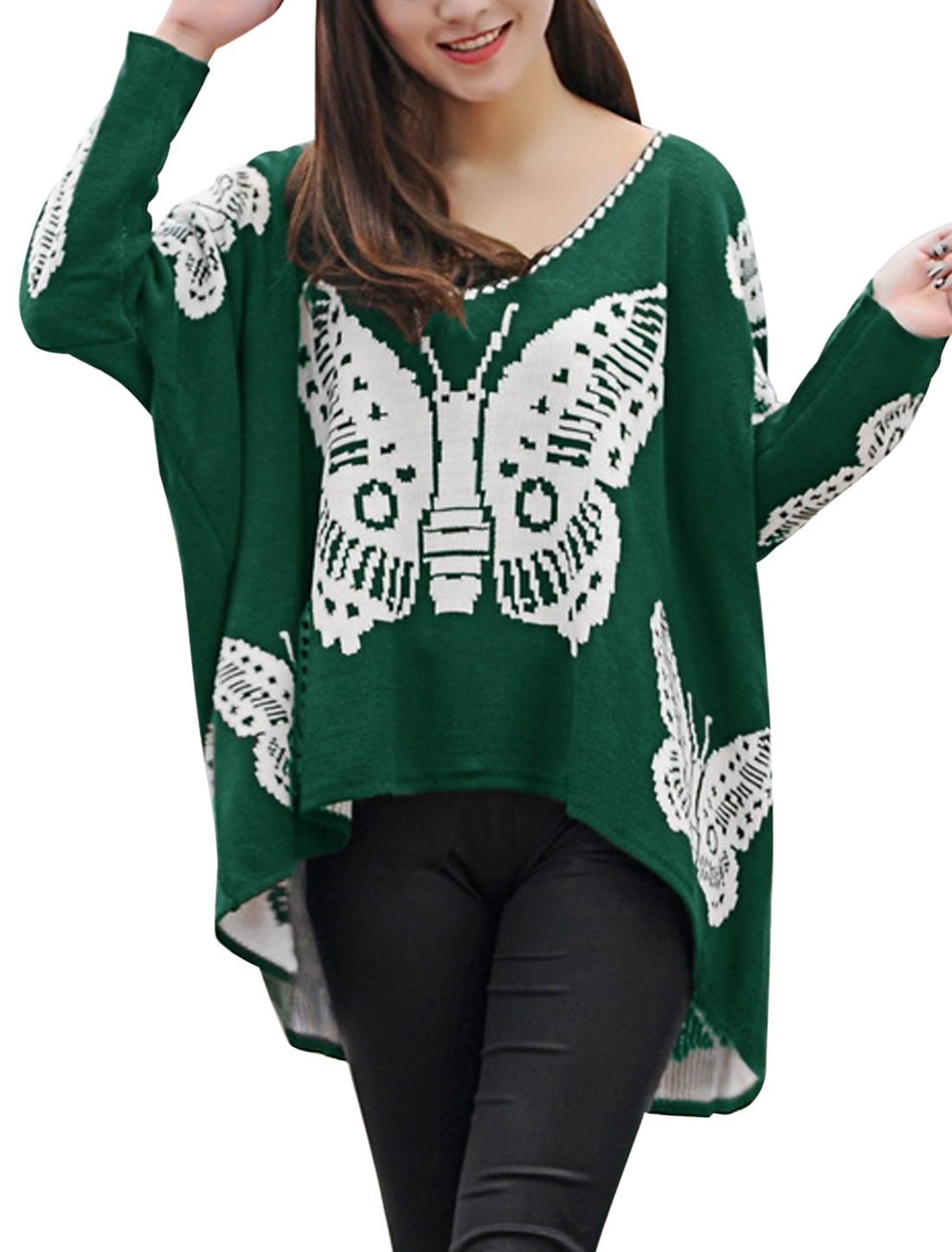New Style Butterfly Pattern Casual Sweater for Lady Dusty Green White M