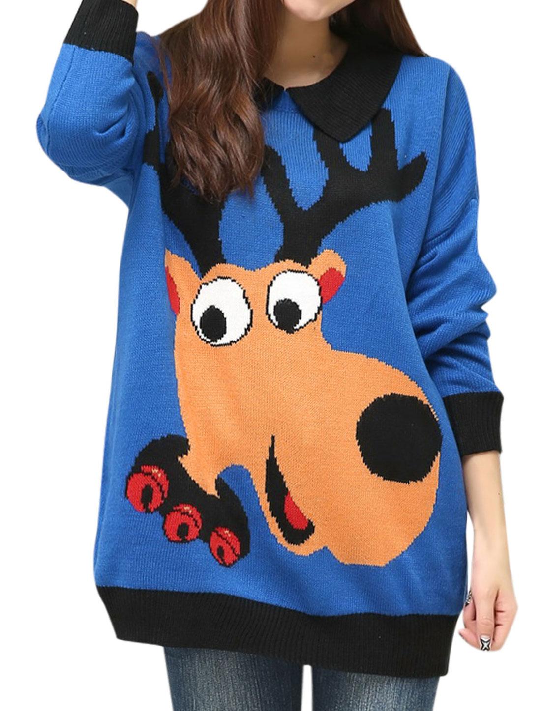Lady Peter Pan Collar Deer Pattern Loose Fit Sweater Royal Blue XS