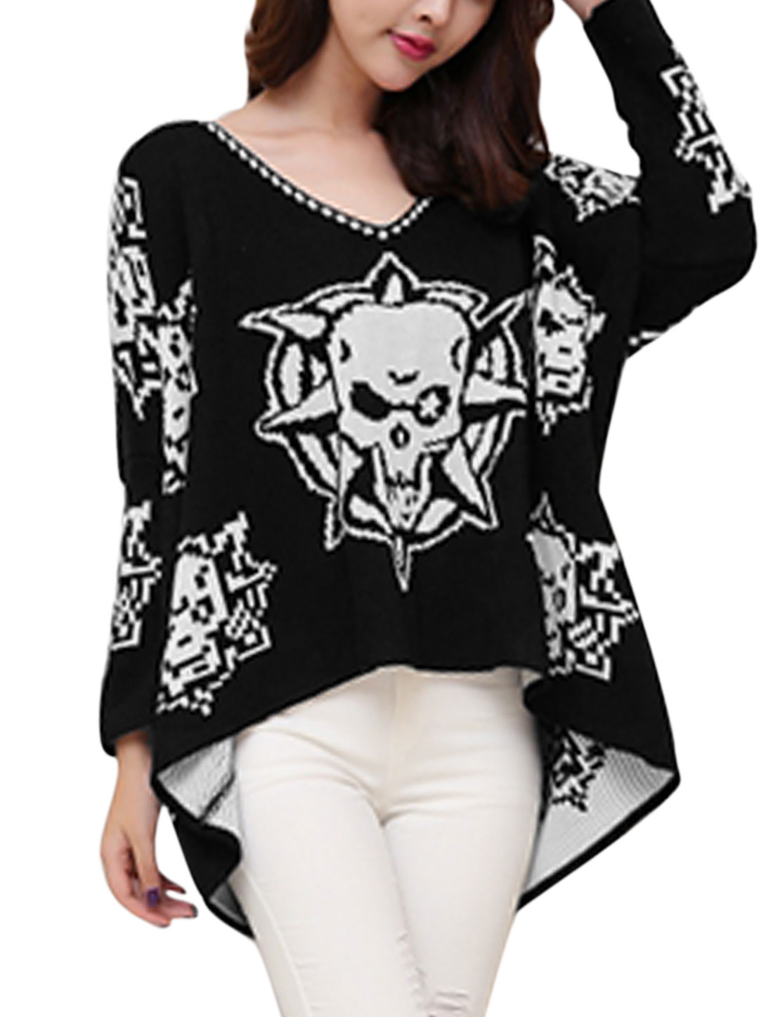 Ladies Black V Neck Long Sleeves Pullover Casual Sweater M
