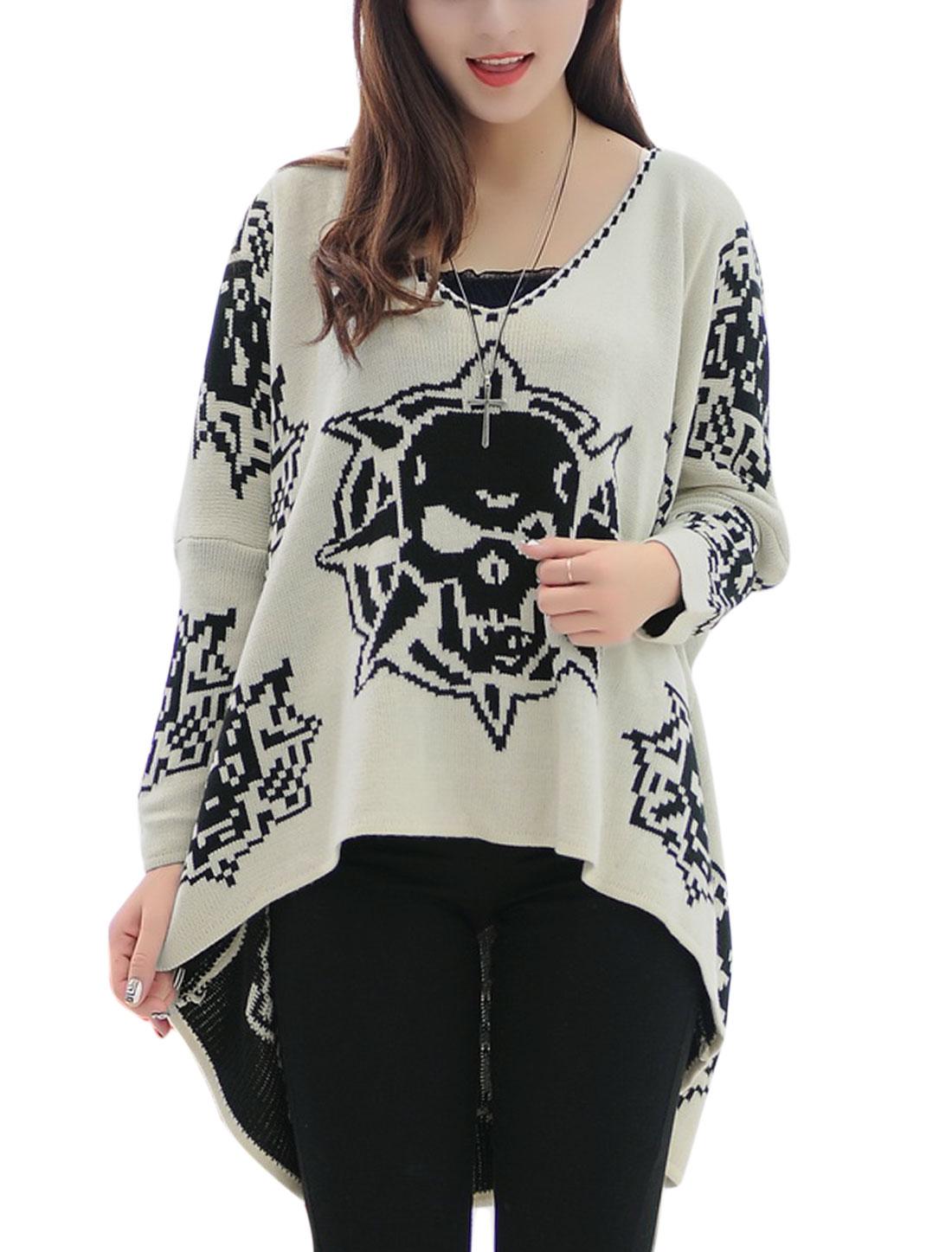 Ladies Beige V Neck Full Sleeves Pullover Skull Pattern Sweater M
