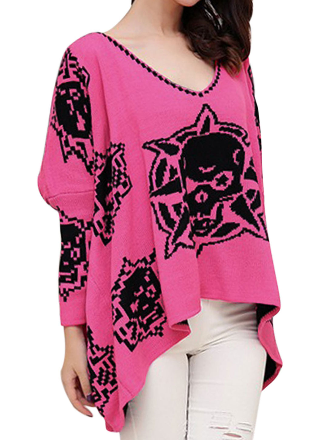Ladies Fuchsia V Neck Long Sleeves Pullover Leisure Sweater M