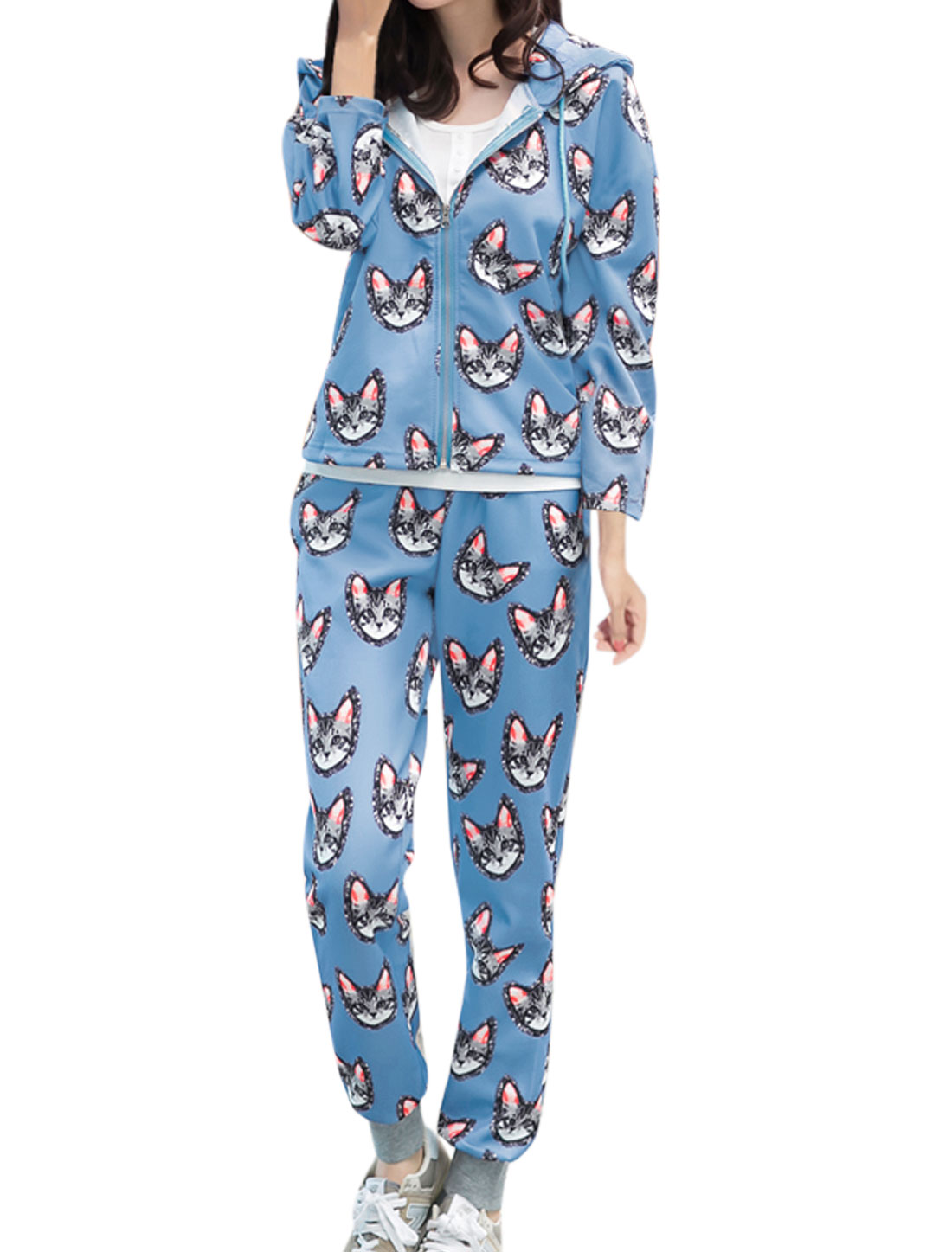 Lady Animal Pattern Long Sleeve Jacket w Elastic Waist Leisure Pants Sky Blue XS
