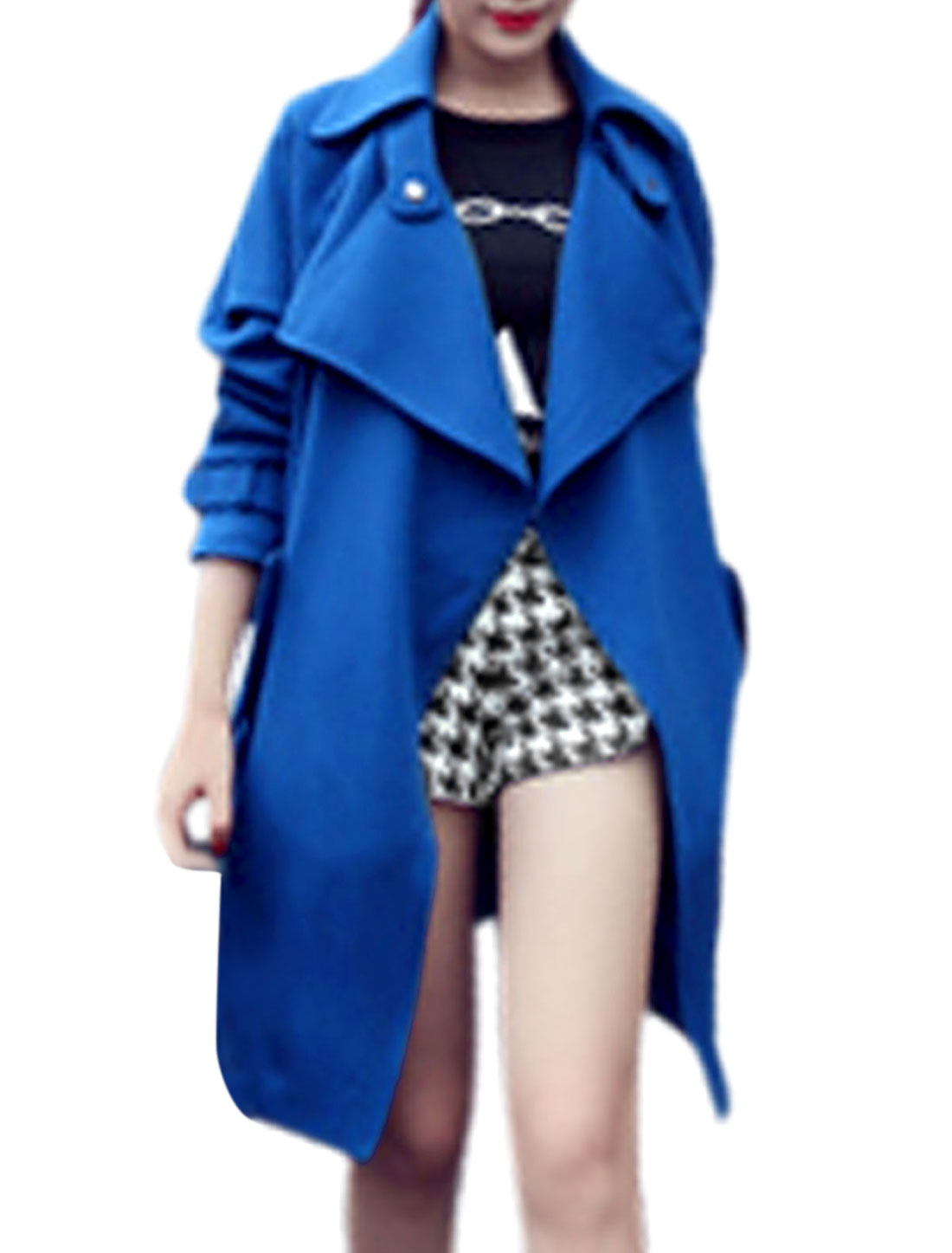 Lady Turn Down Collar Raglan Sleeve Trench Coat w Detachable Waist String Blue M