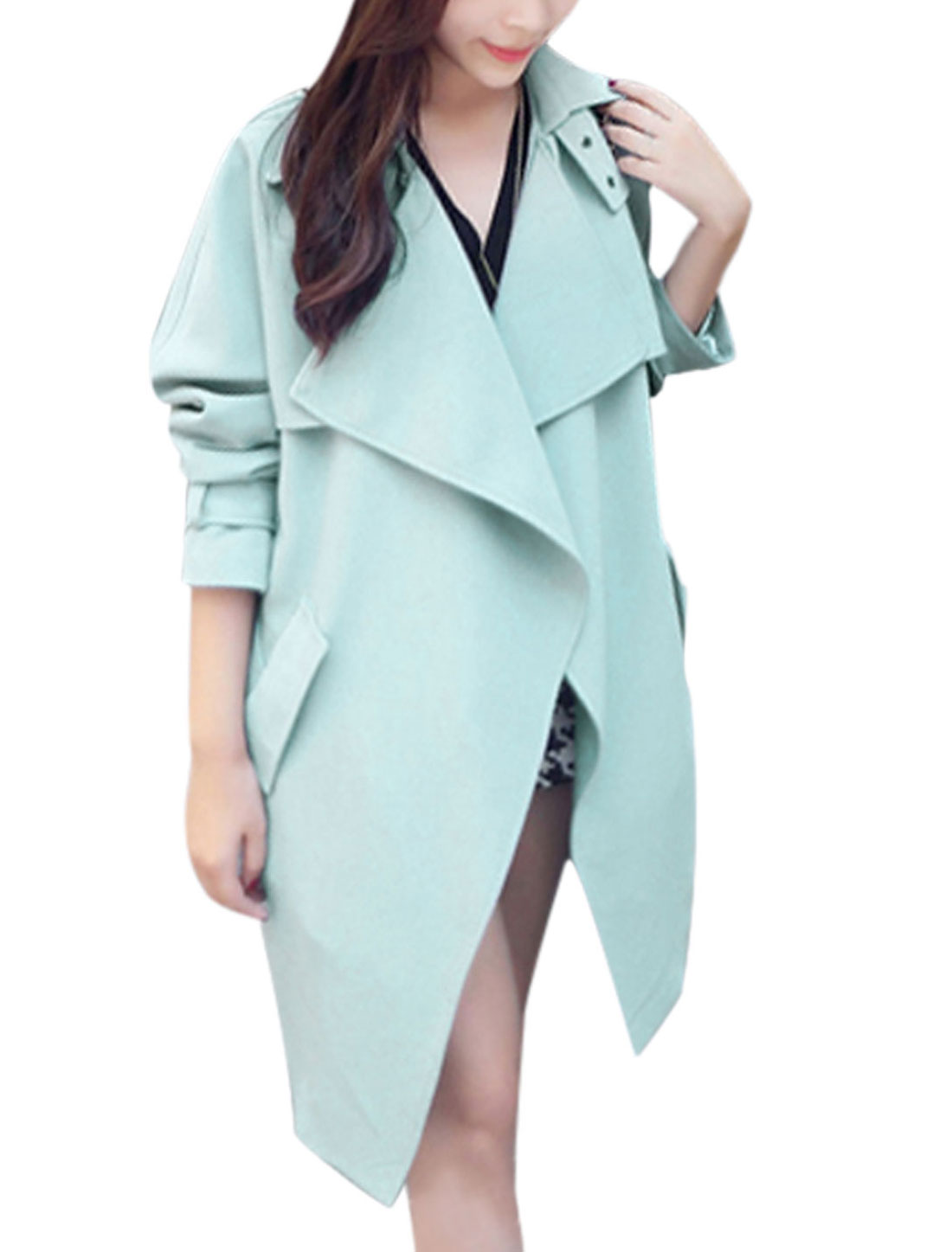 Lady Long Sleeve Buttonless Trench Coat w removable Waist String Light Blue M