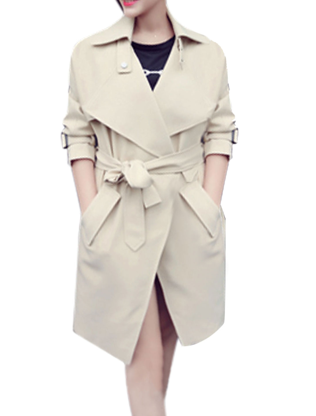 Lady Turn Down Collar Buttonless Trench Coat w Detachable Waist String Beige M