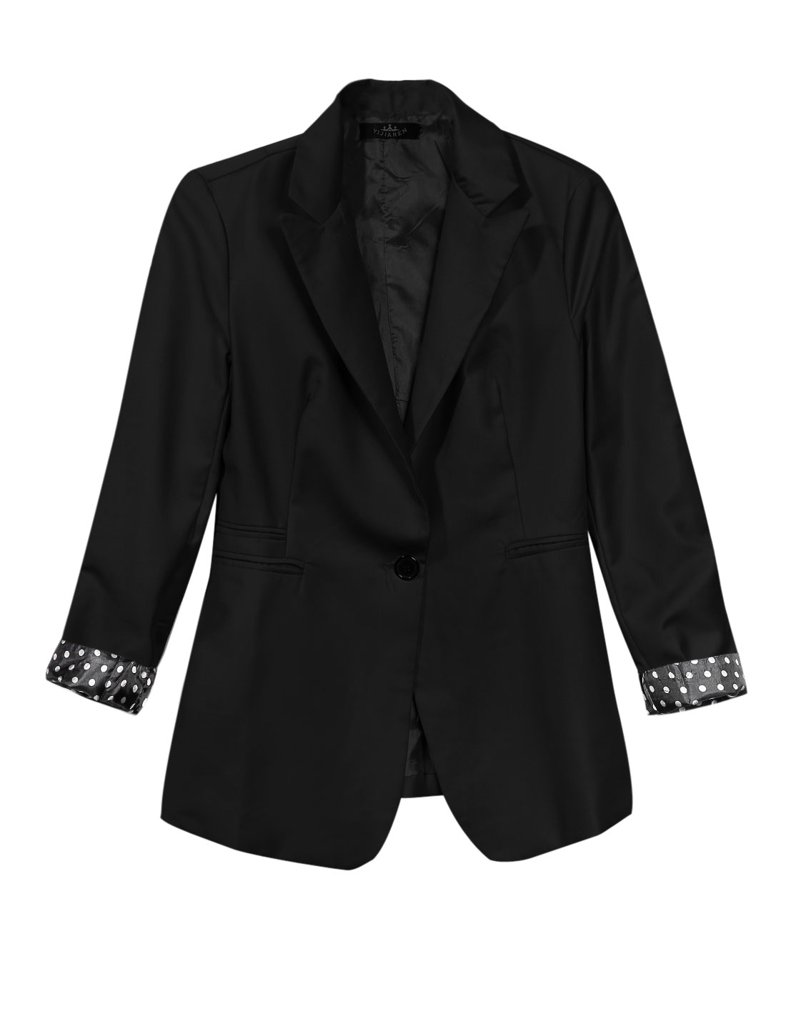 Lady Peaked Lapel Long Sleeve Casual Design Jacket Black M
