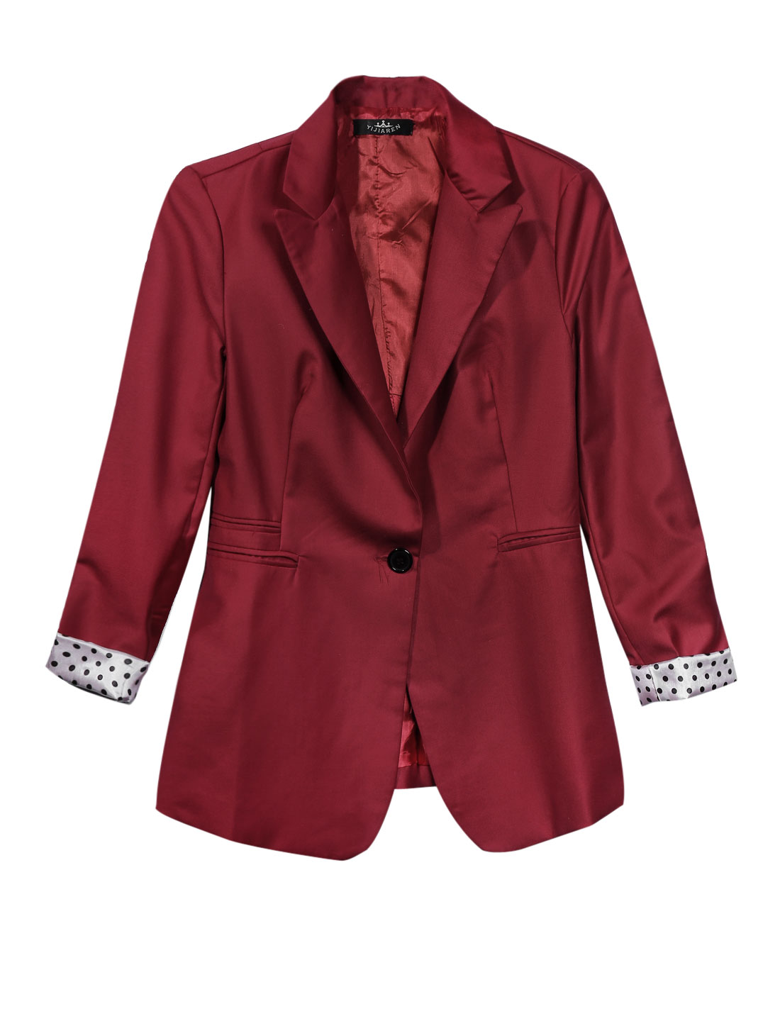 Lady Peaked Lapel One Button Closure Leisure Jacket Burgundy M