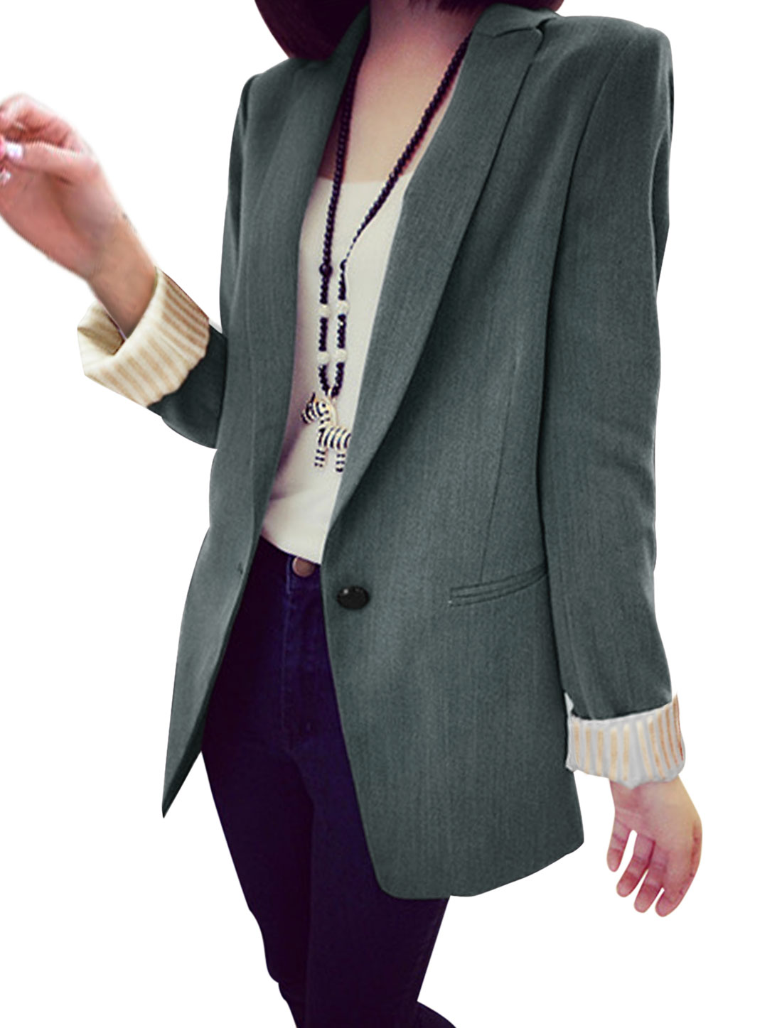 Lady Peaked Lapel Long Sleeve Split Back Casual Jacket Ebony M