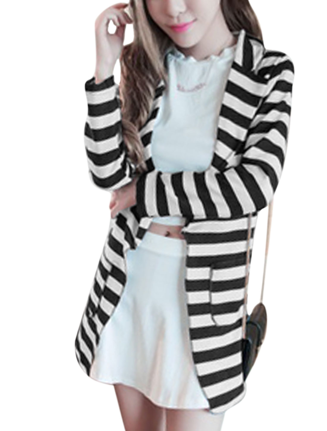 Ladies Black White Long Sleeves Notched Lapel Stripes Blazer Jacket XS