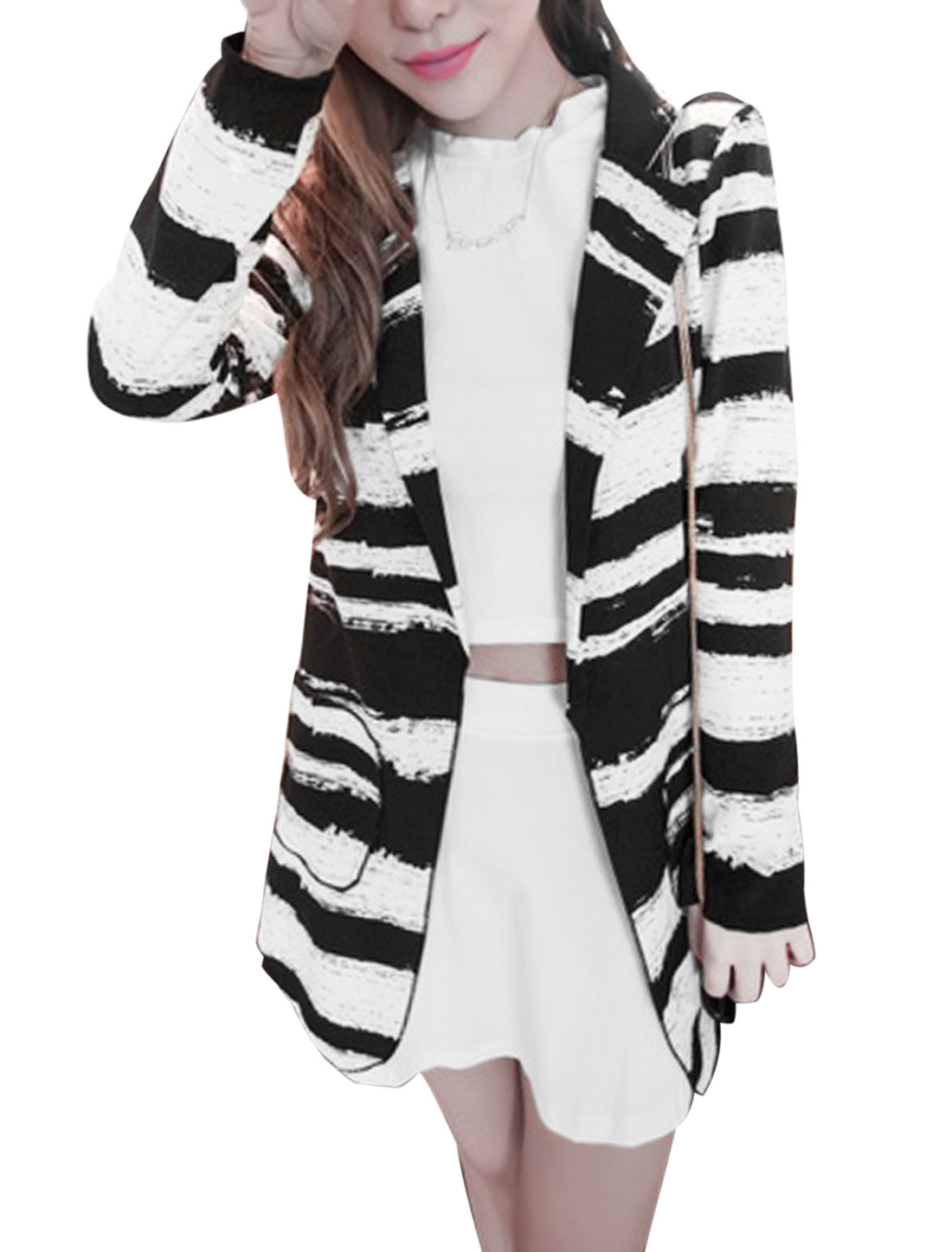 Ladies Black White Long Sleeves Notched Lapel Front Opening Stripes Blazer Jacket XS