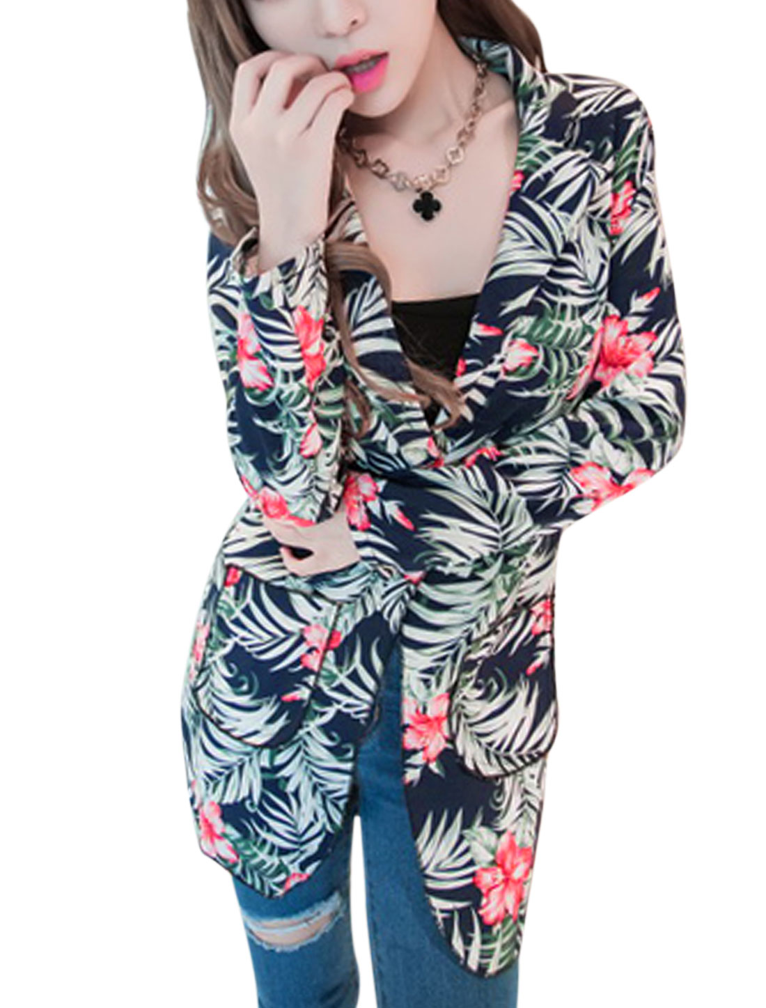 Lady Notched Lapel Floral Pattern Front Opening Casual Blazer Navy Blue S