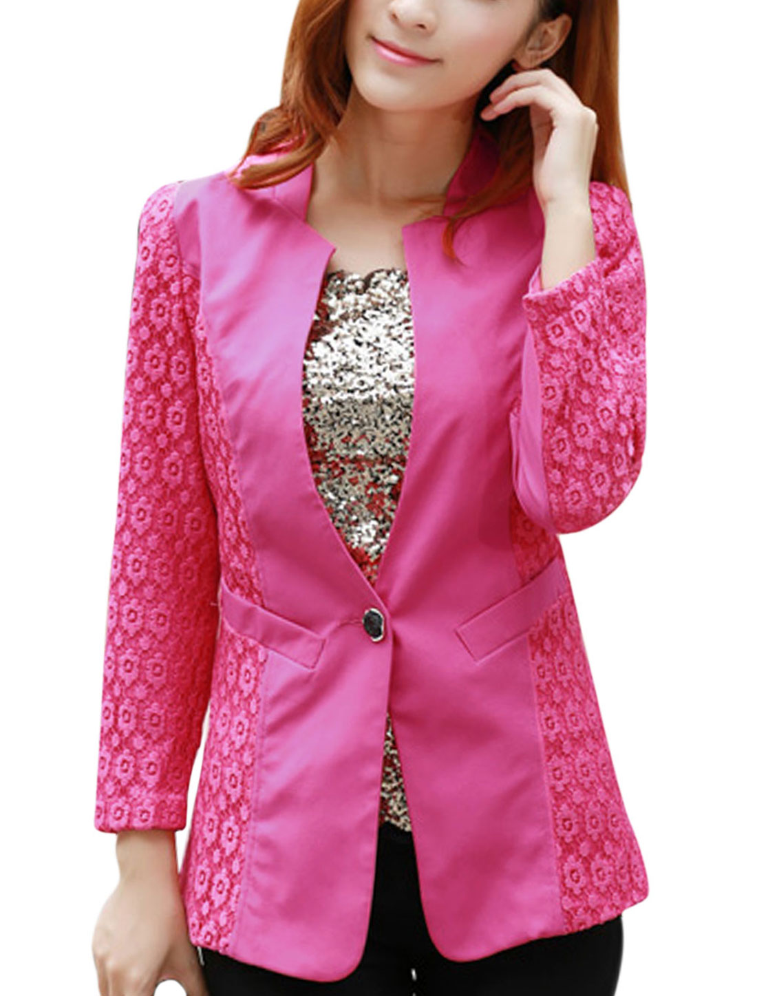 Lady Split Neck One Button Closure Front Casual Blazer Fuchsia M