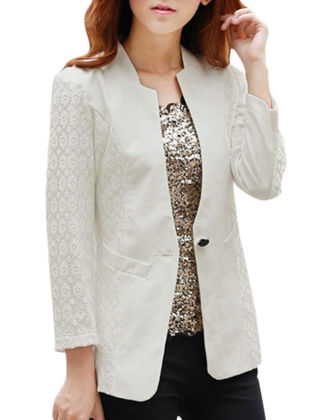 Lady Two Vertical Pockets Split Neck Leisure Blazer White M