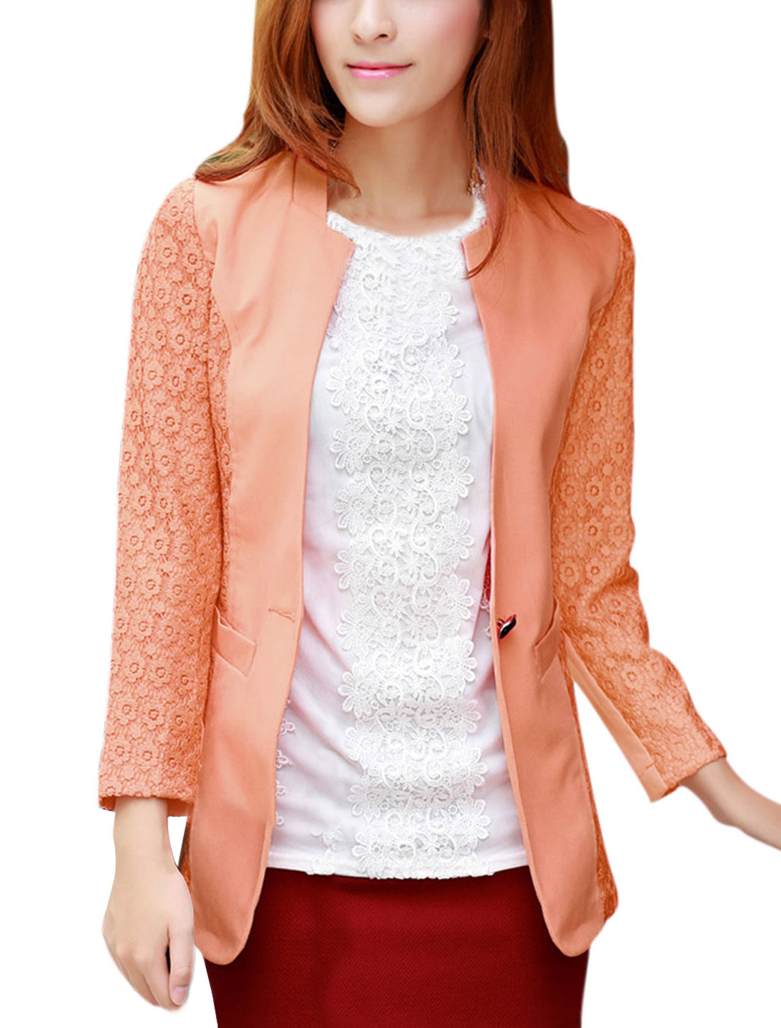 Slim Fit Crochet Design Fashion Blazer for Lady Salmon M