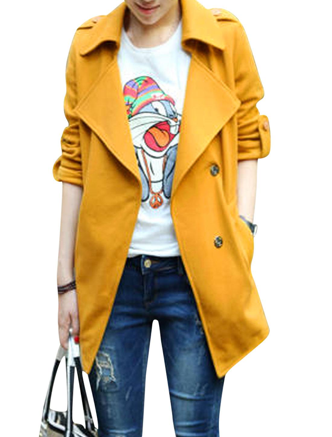 Ladies Yellow Turn Down Collar Long Sleeves Hidden Single Breasted Trench Jacket S