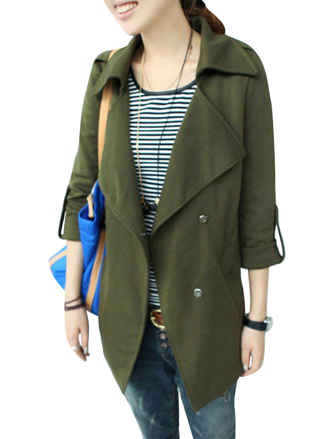 Ladies Army Green Turn Down Collar Long Sleeves Hidden Button Closure Trench Jacket S