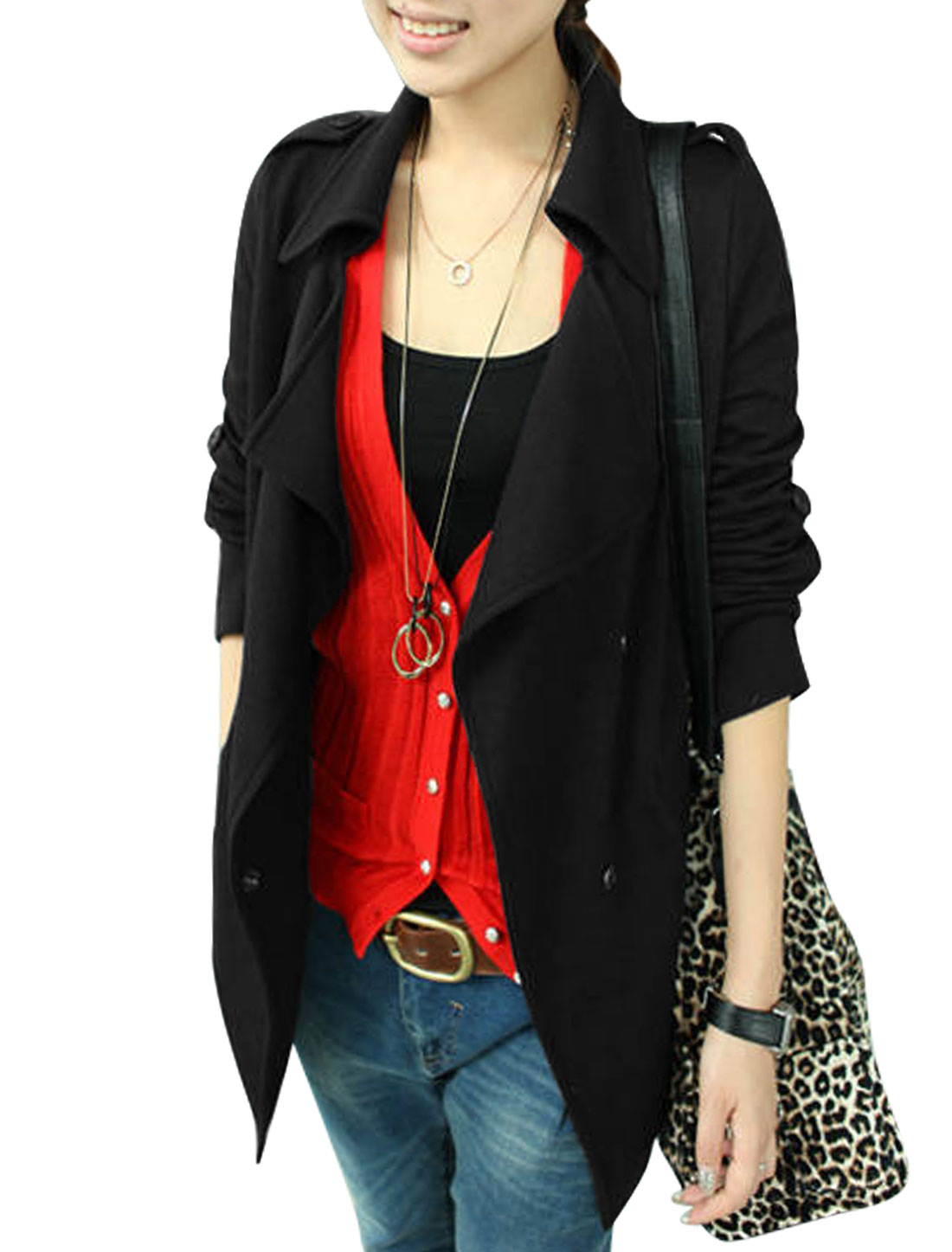 Ladies Black Split Neck Full Sleeves Hidden Single Breasted Button Shoulder Blazer Jacket S