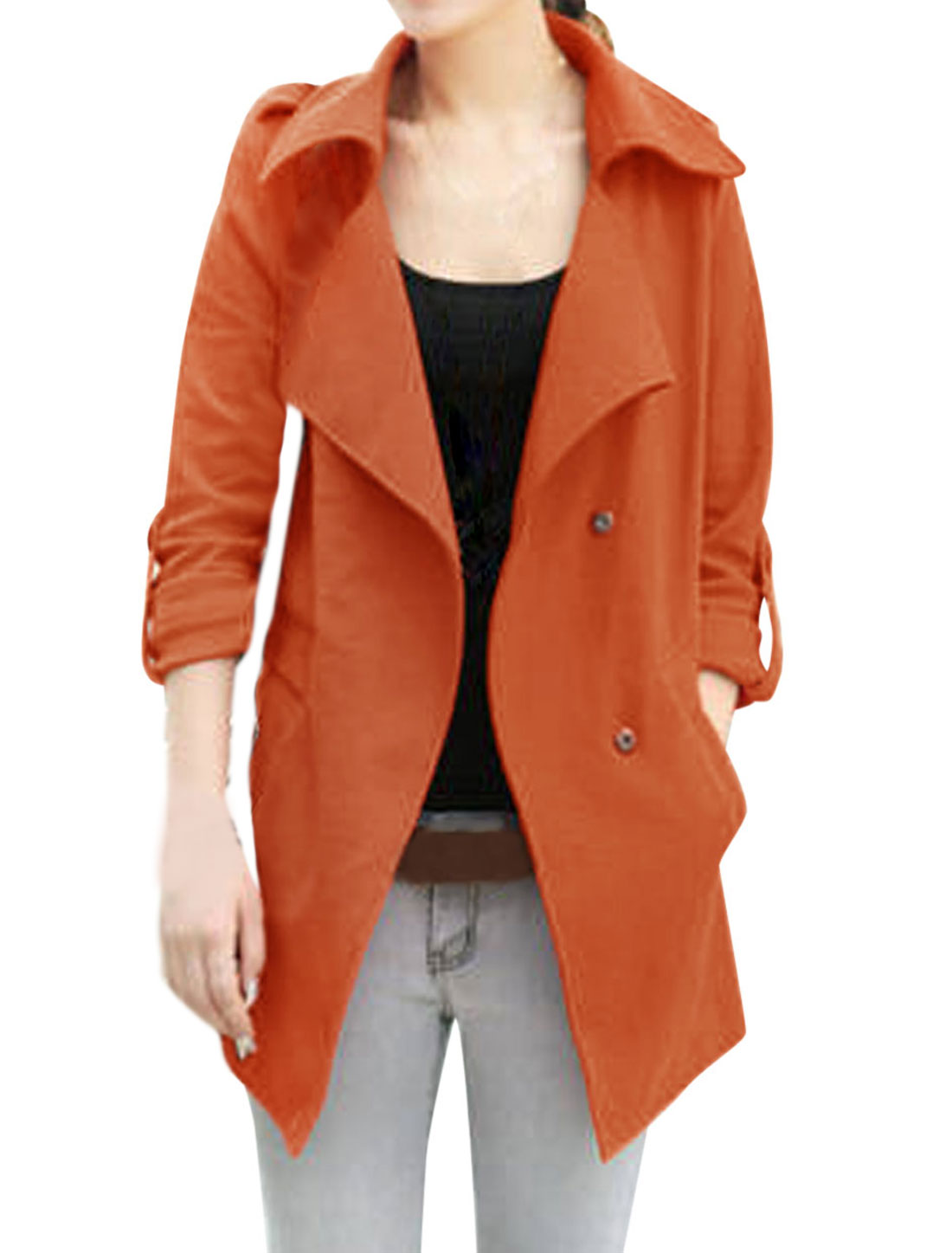 Ladies Rust Turn Down Collar Long Sleeves Hidden Single Breasted Trench Jacket S