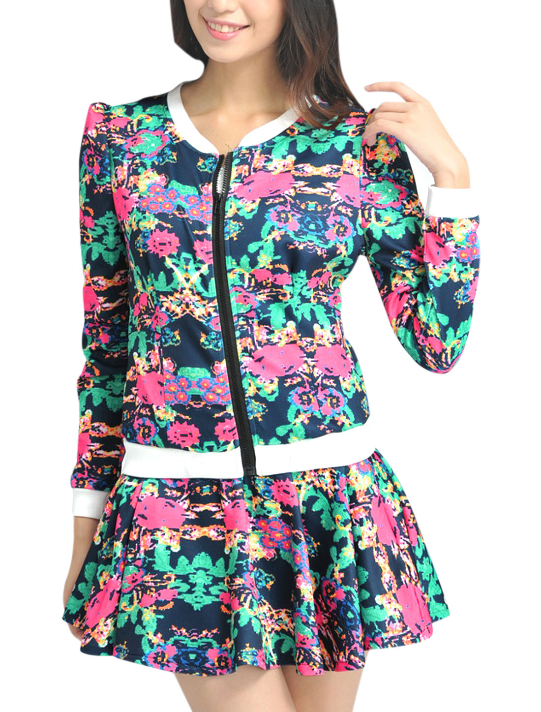 Ladies Multicolor Stand Collar Zippered Front Jacket w Elastic Waist Skirt XS