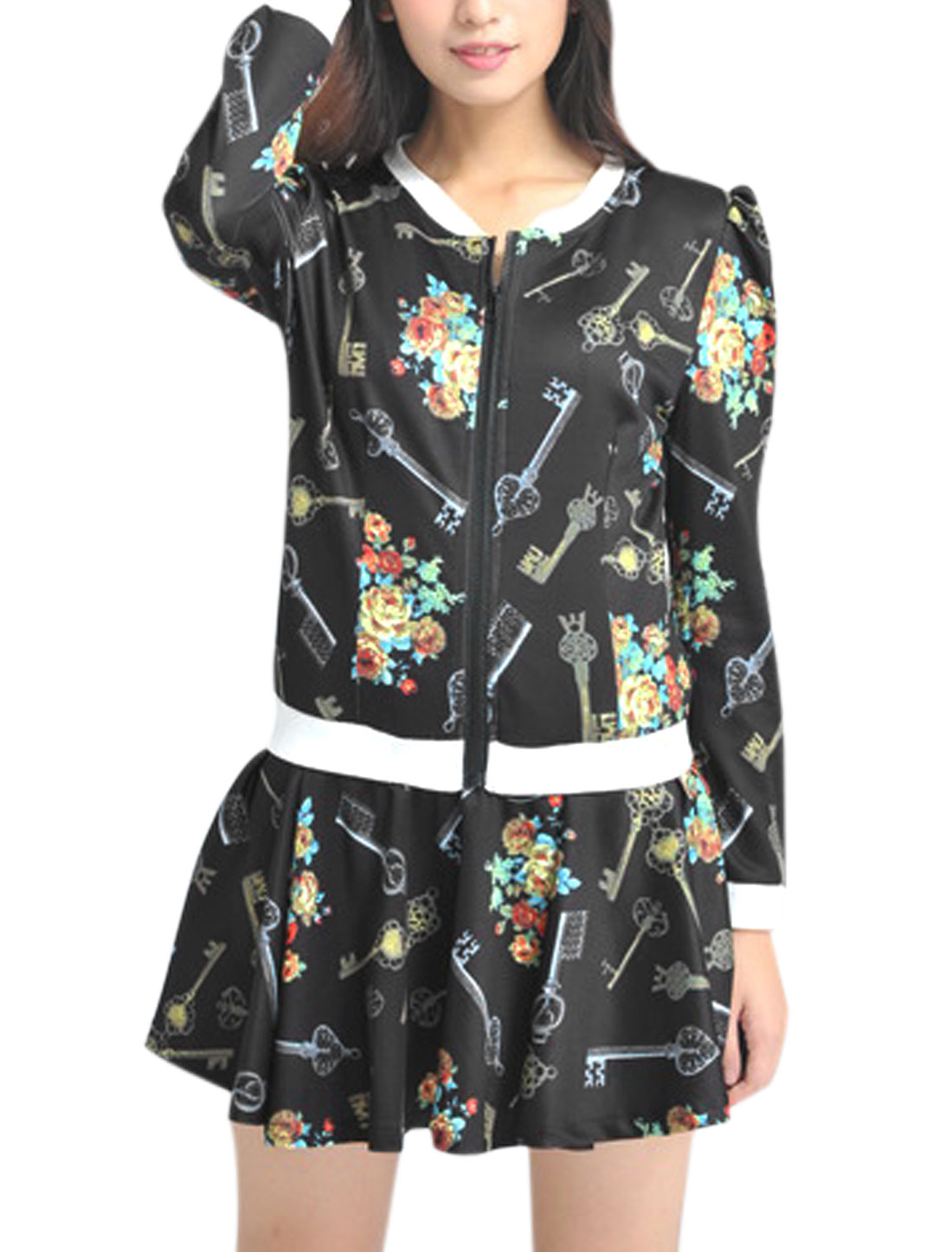 Lady Floral Key Pattern Casual Jacket w Elastic Waist Fashion Skort Black XS