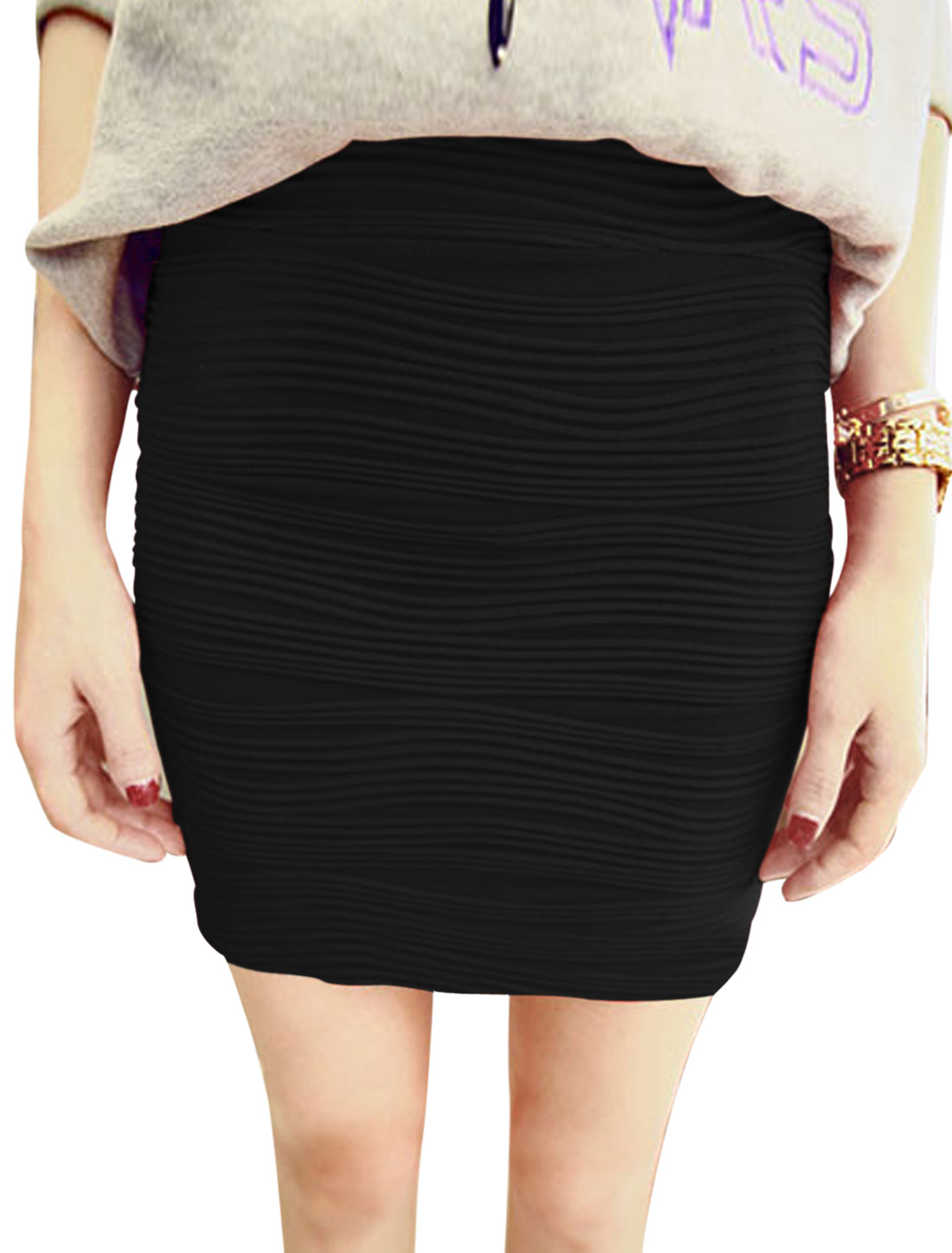 Textured Design Mid Rise Fashion Mini Skirt for Lady Black XS