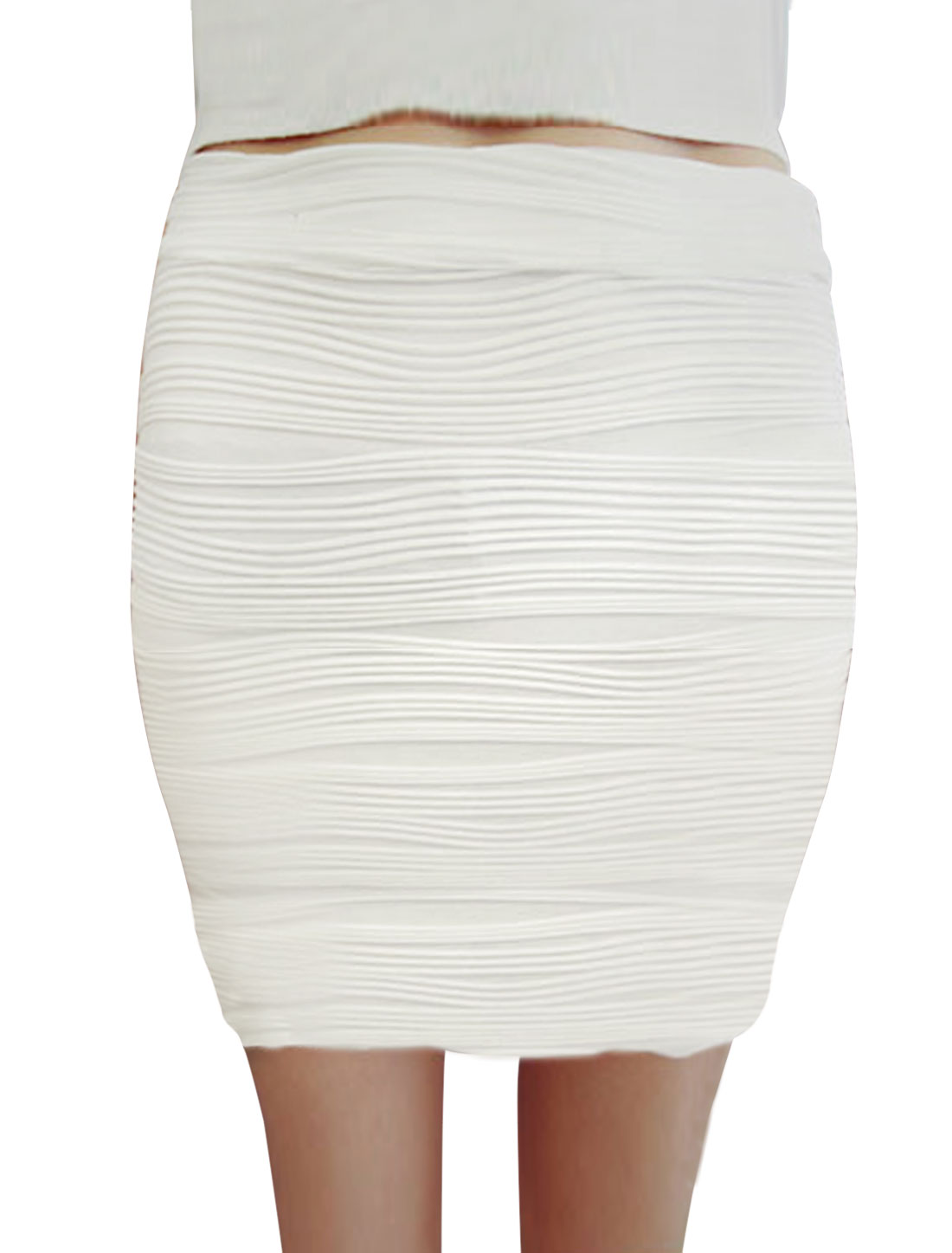 Textured Design Mid Rise Sexy Mini Skirt for Lady White XS