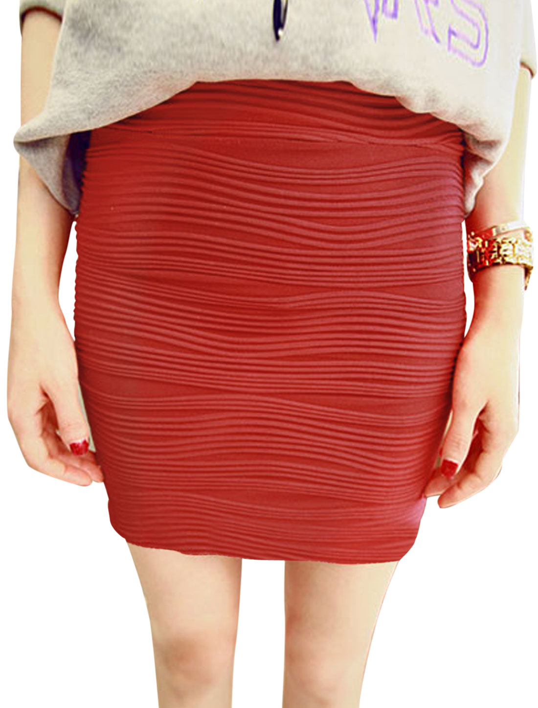 Textured Design Mid Rise Slim Fit Mini Skirt for Lady Red XS