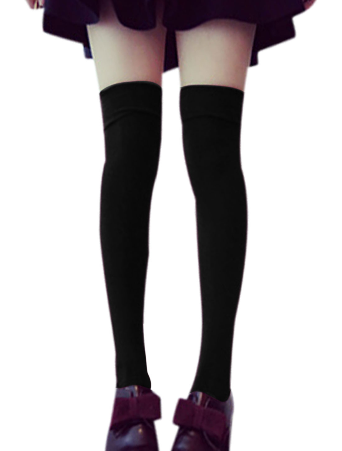 Ladies Black Elastic Cuffs Above Knee High Slim Casual Socks