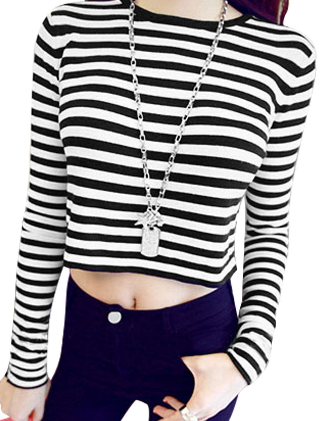 Women Long Sleeves Stripes Casual Cropped Top White Black XS