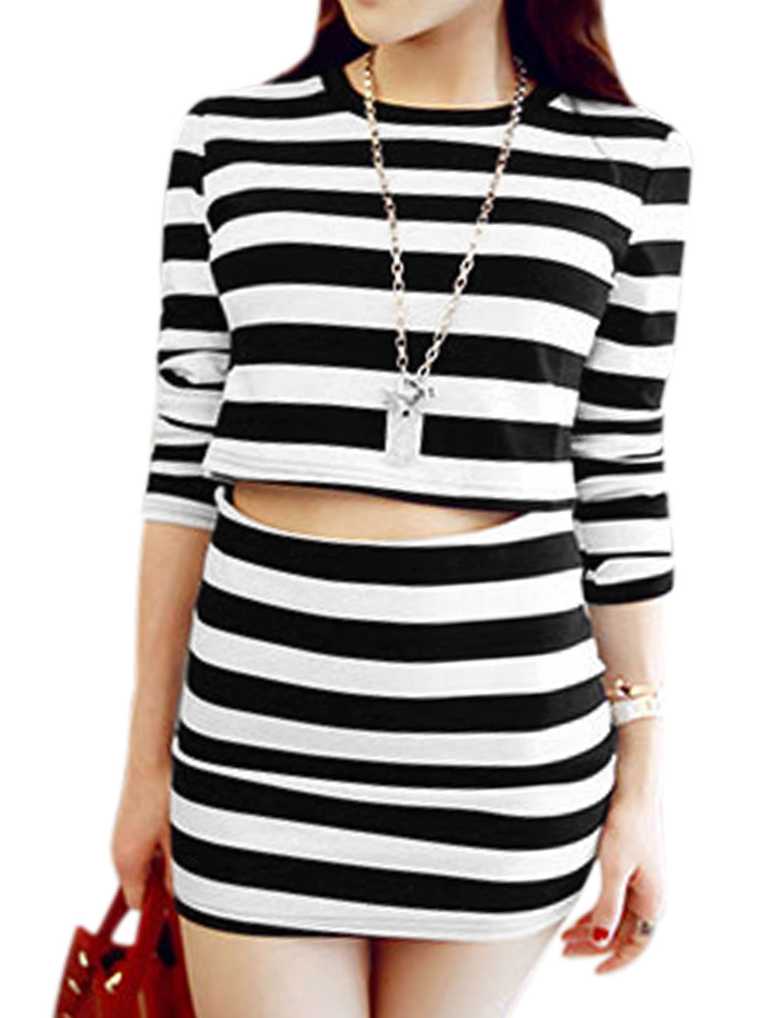 Ladies Black White Round Neck Stripes Cropped Top w Elastic Waist Over Hip Skirt XS