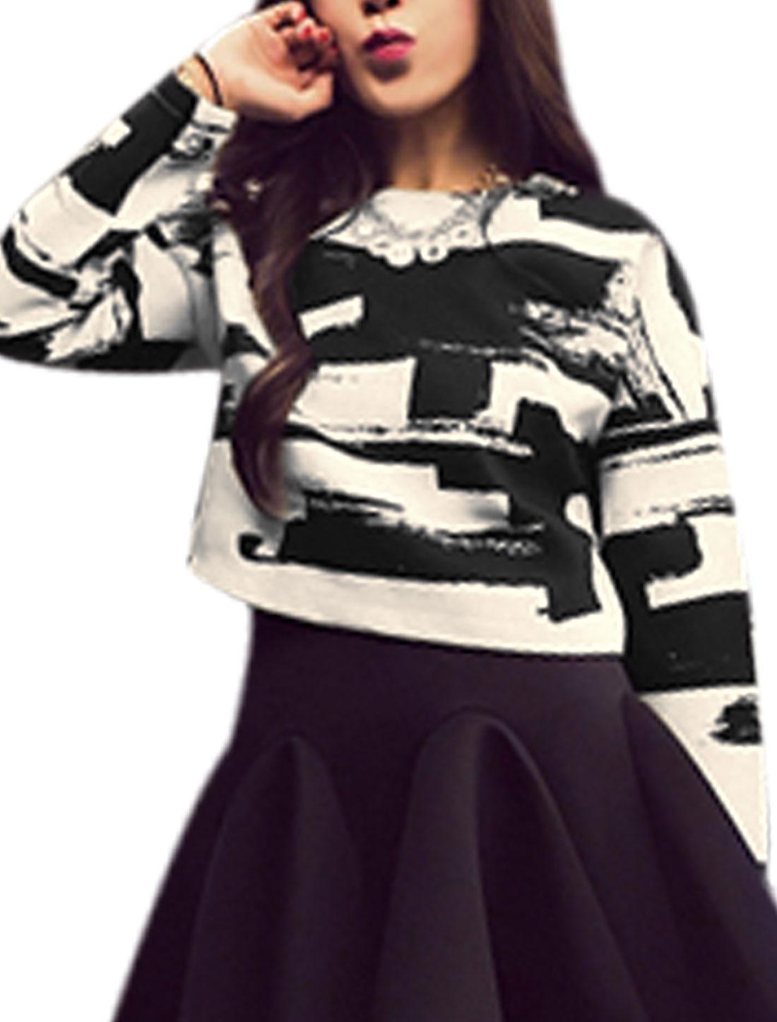 Lady Novelty Prints Hidden Zipper Back Long Sleeve Top Beige Black XS