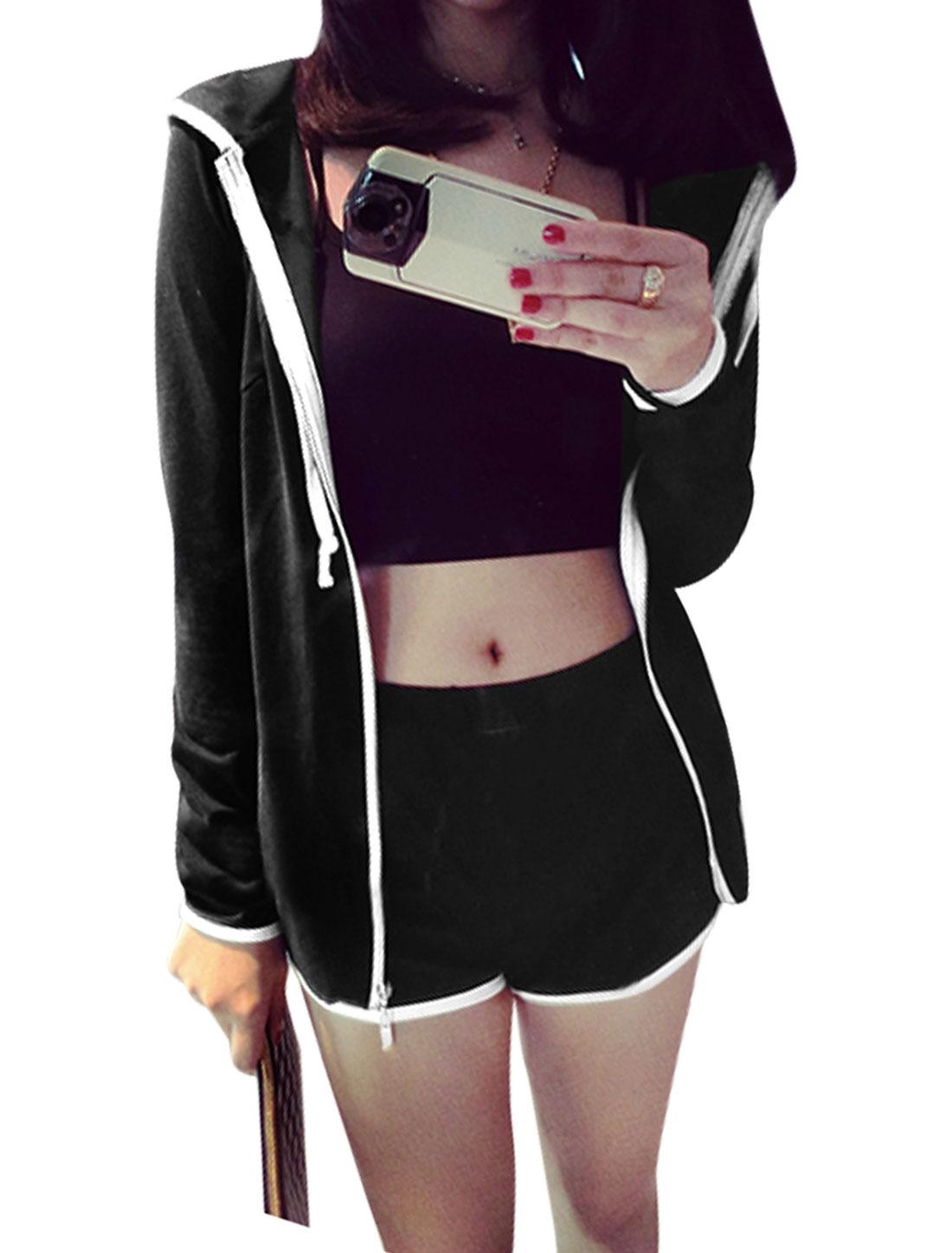 Women Drawstring Hood Zip Up Hoodie w Elastic Waist Shorts Set Black XS