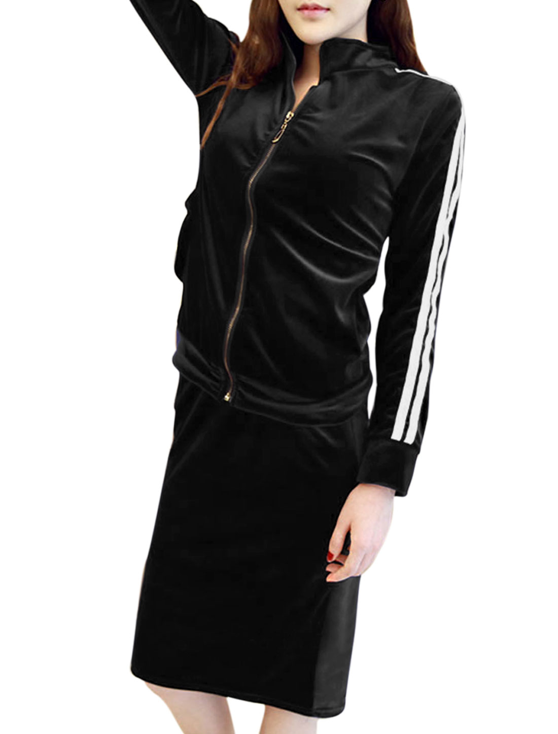 Lady Zip Up Casual Velvet Jacket w Elastic Waist Velvet Skirt Black S