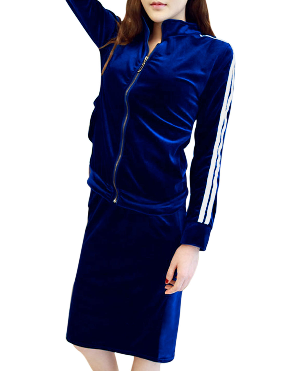 Lady Stripes Detail Fashion Velvet Jacket w Stretchy Waist Velvet Skirt Royal Blue S