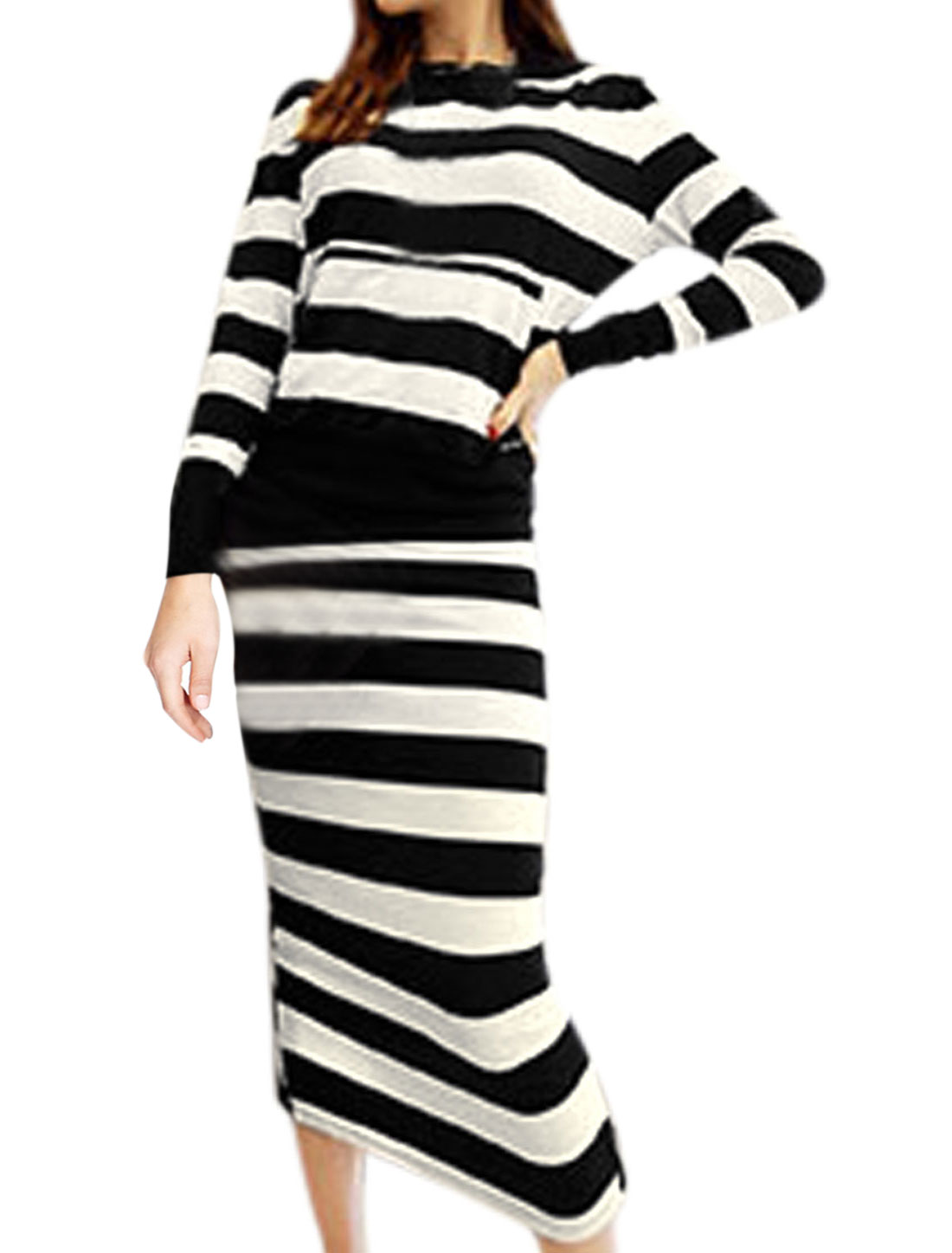 Ladies Black White Long Sleeves Round Neck Stripes Hoodie w Elastic Waist Skirt S