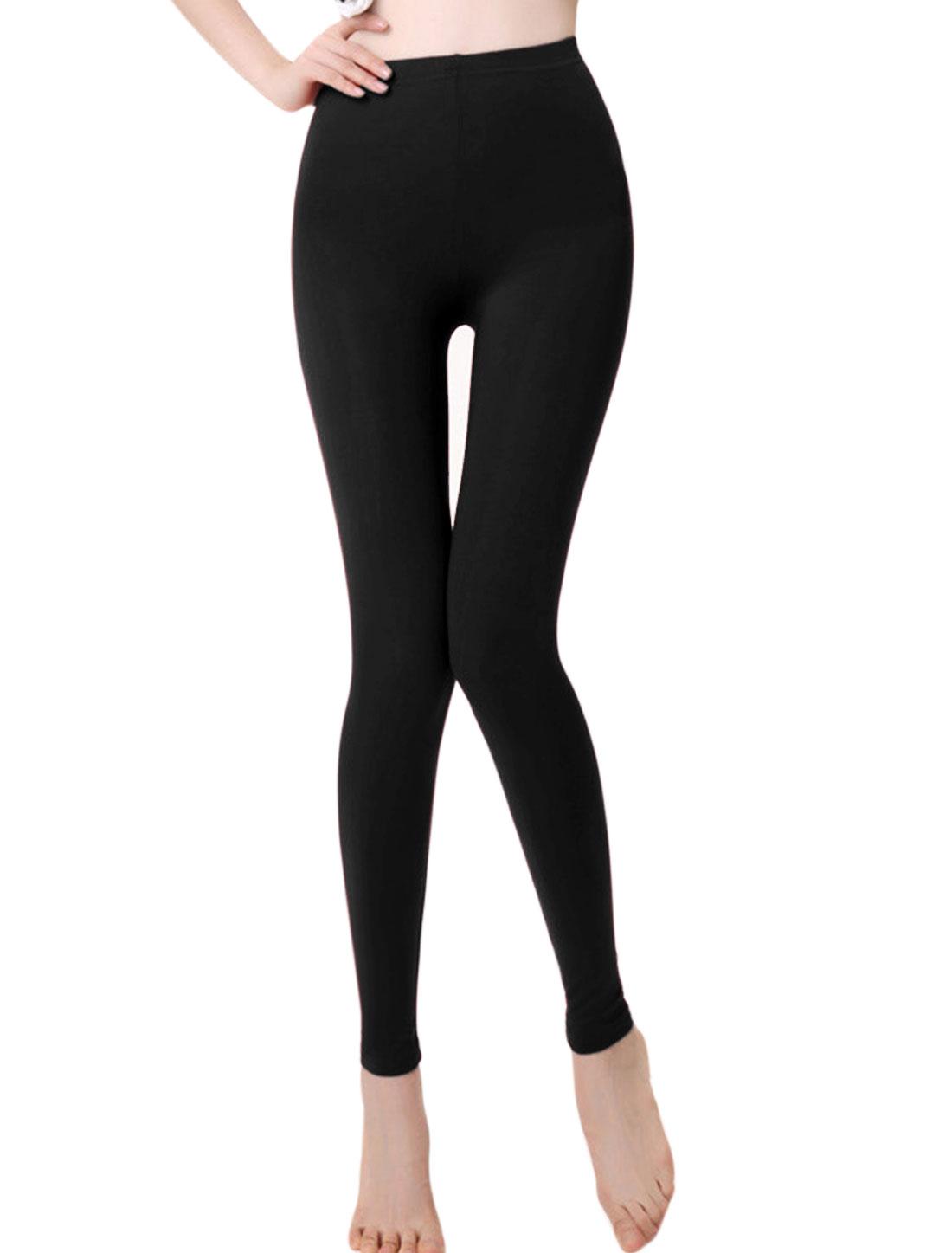 Autumn Soft Elastic Waist Pure Design Leggings for Lay Black XS