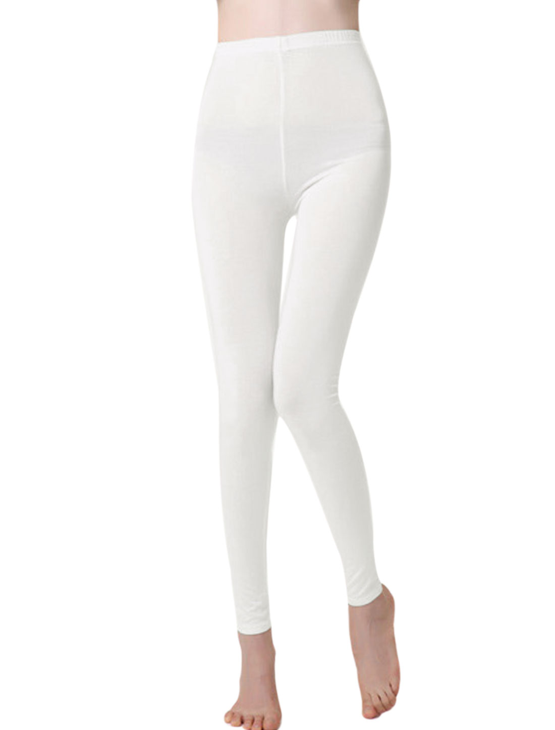 Autumn Soft Elastic Waist Full Length Leggings for Lay White XS