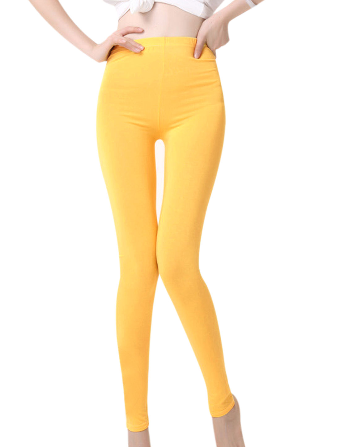Autumn Mid Rise Elastic Waist Full Length Leggings for Lay Light Yellow XS