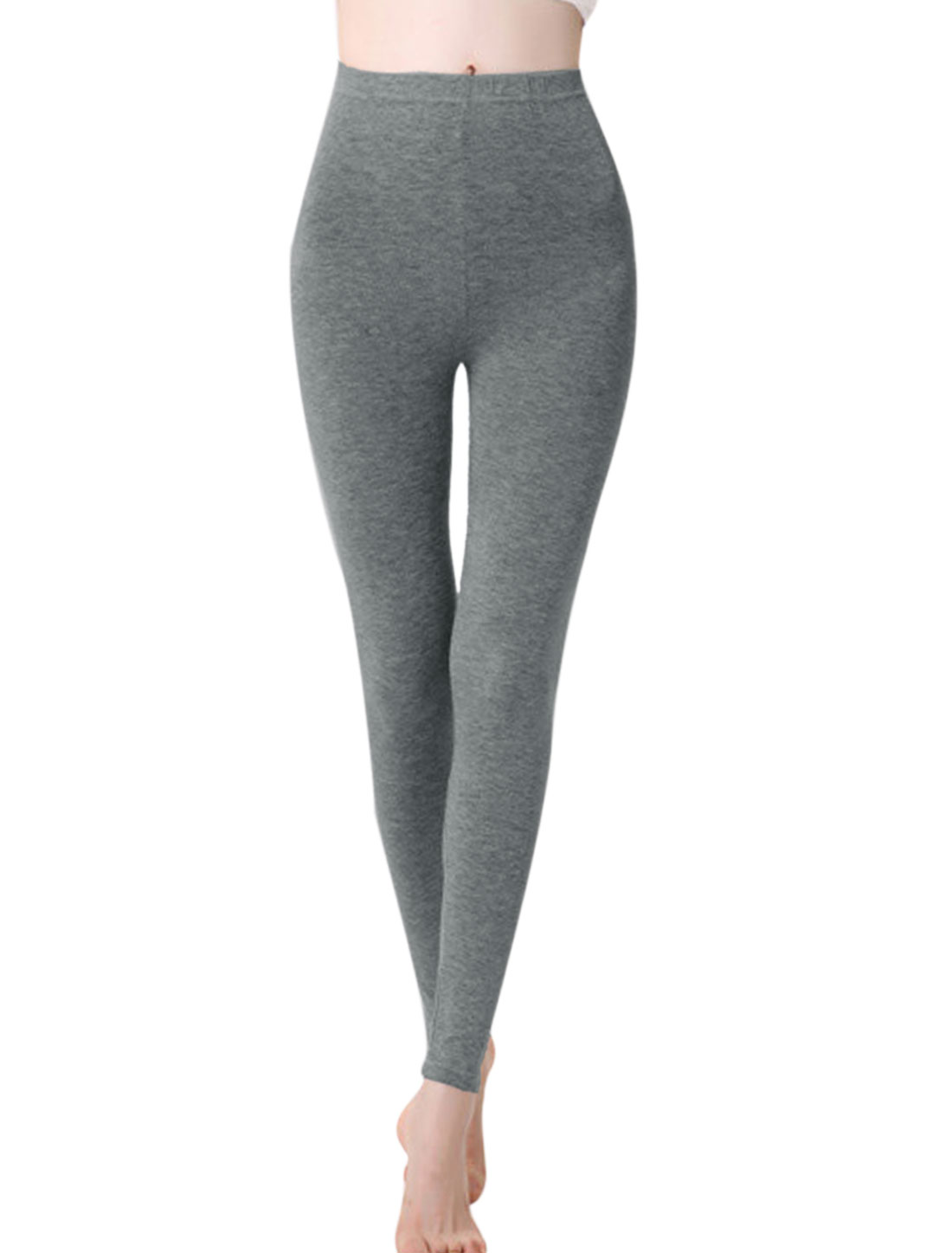 Women Autumn Cozy Fit Elastic Waist Full Length Leggings Dark Gray XS