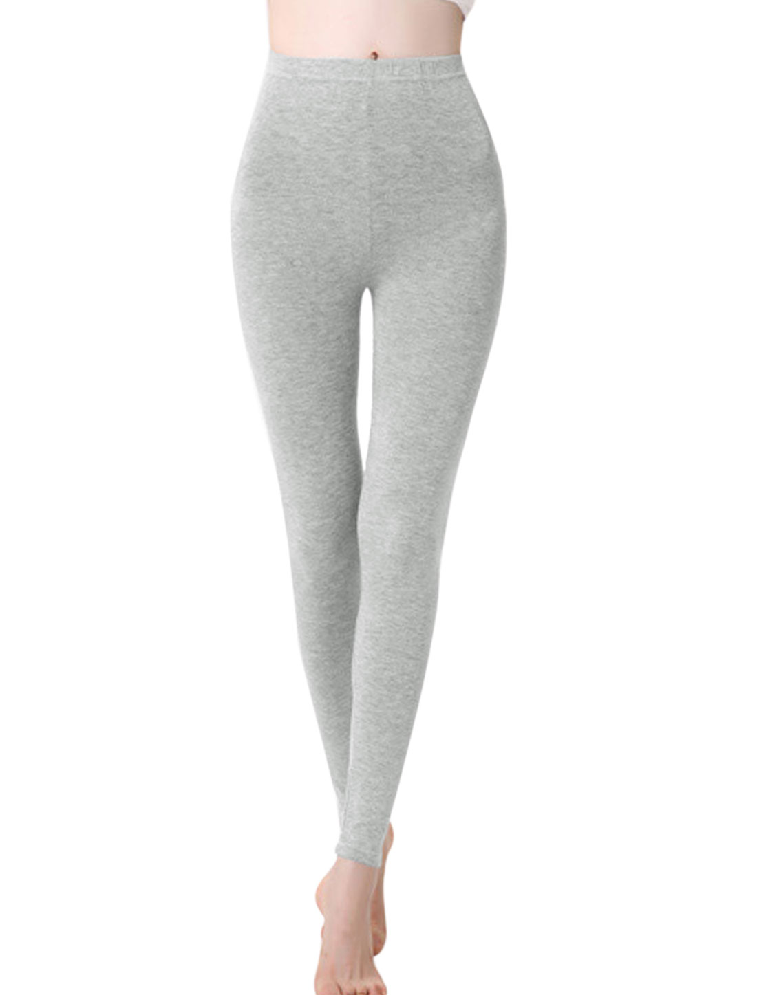Women Autumn Cozy Fit Elastic Waist Pure Design Leggings Light Gray XS