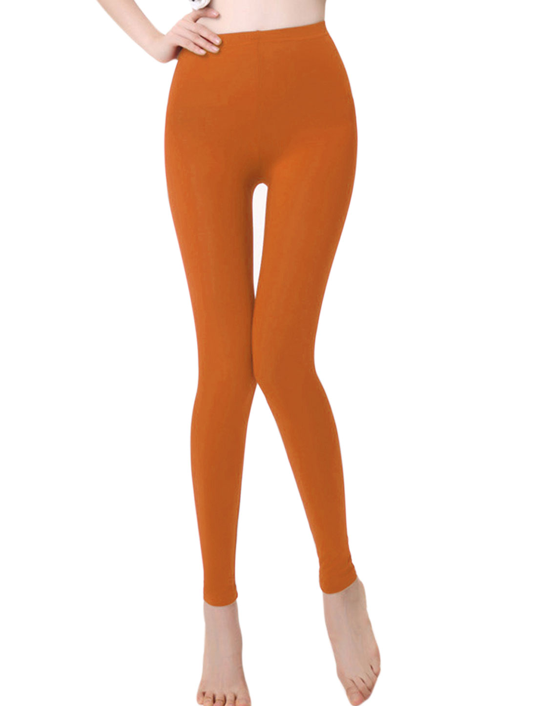 Women Slim Fit Mid Rise Elastic Waist Pure Design Leggings Orange XS