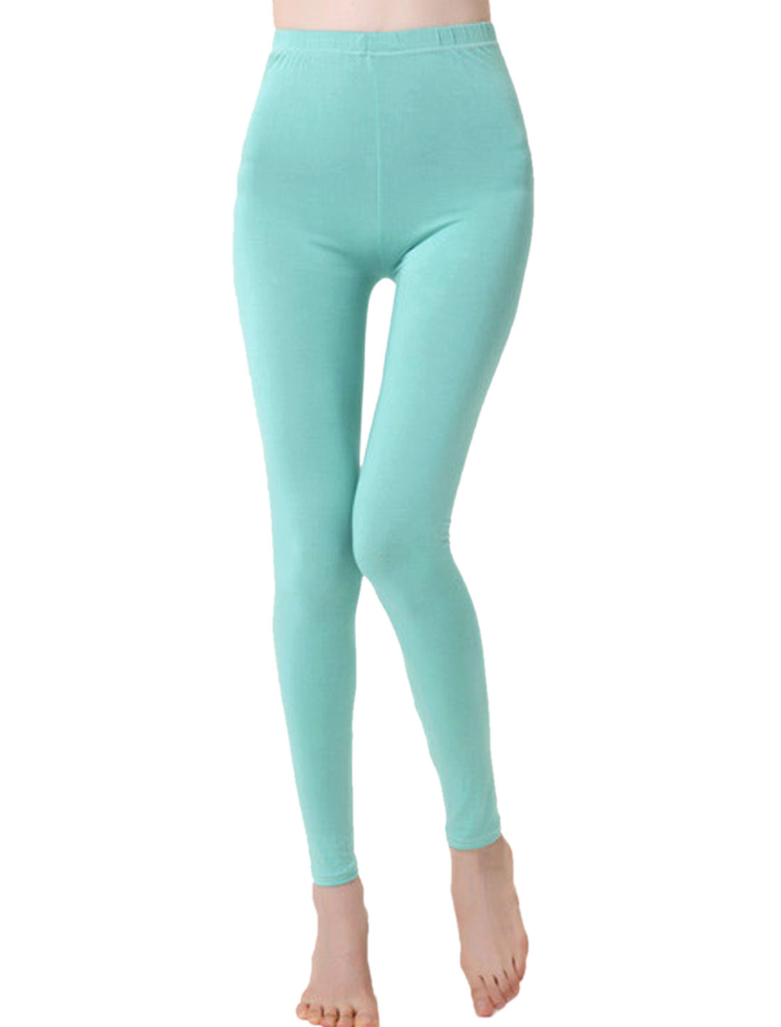 Women Slim Fit Mid Rise Elastic Waist Full Length Leggings Aqua XS