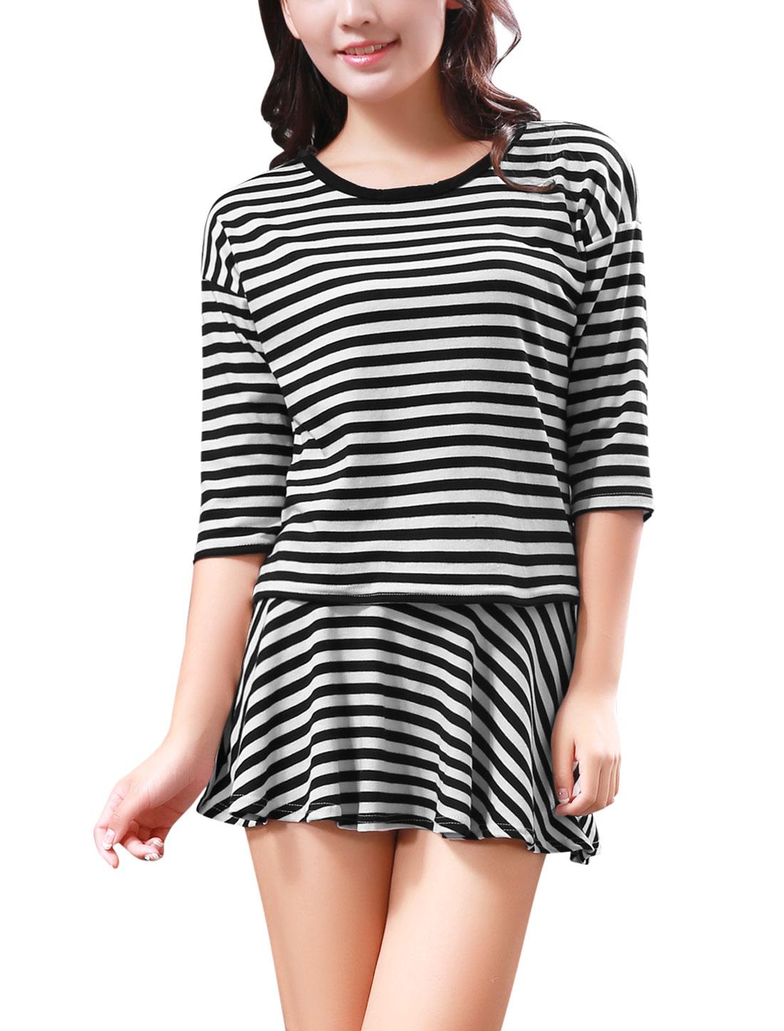 Lady Bar Striped T-Shirt w Elastic Waist Mini Skirt Black White XS