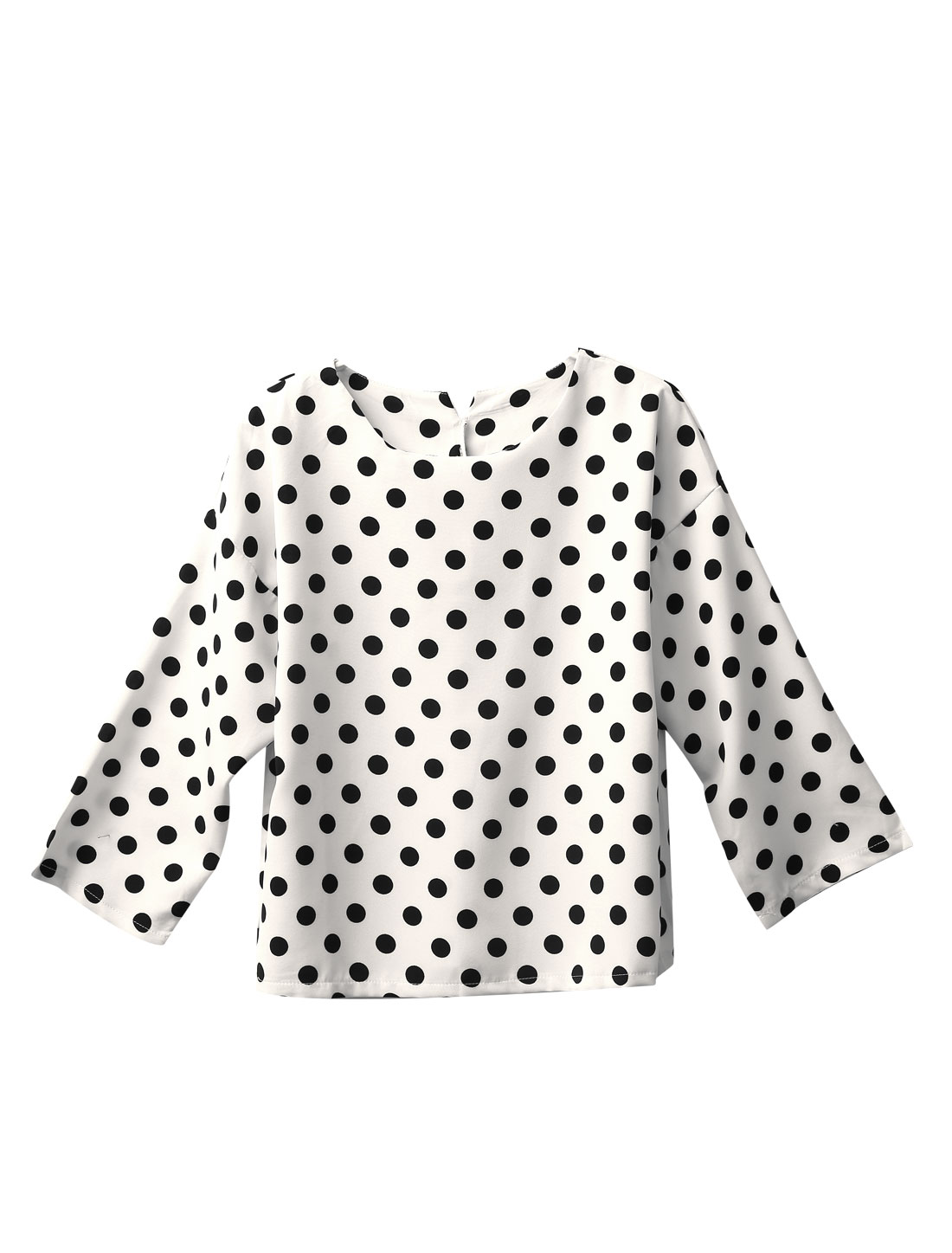 Ladies Polka Dots Prints 3/4 Sleeves Casual Shirt White S