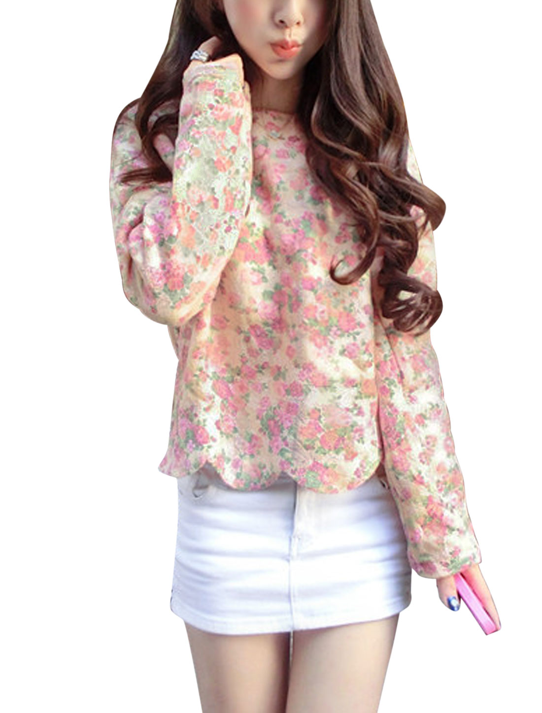 Women Floral Pattern Scalloped Hem Fleece Lined Casual Lace Top Pink XS